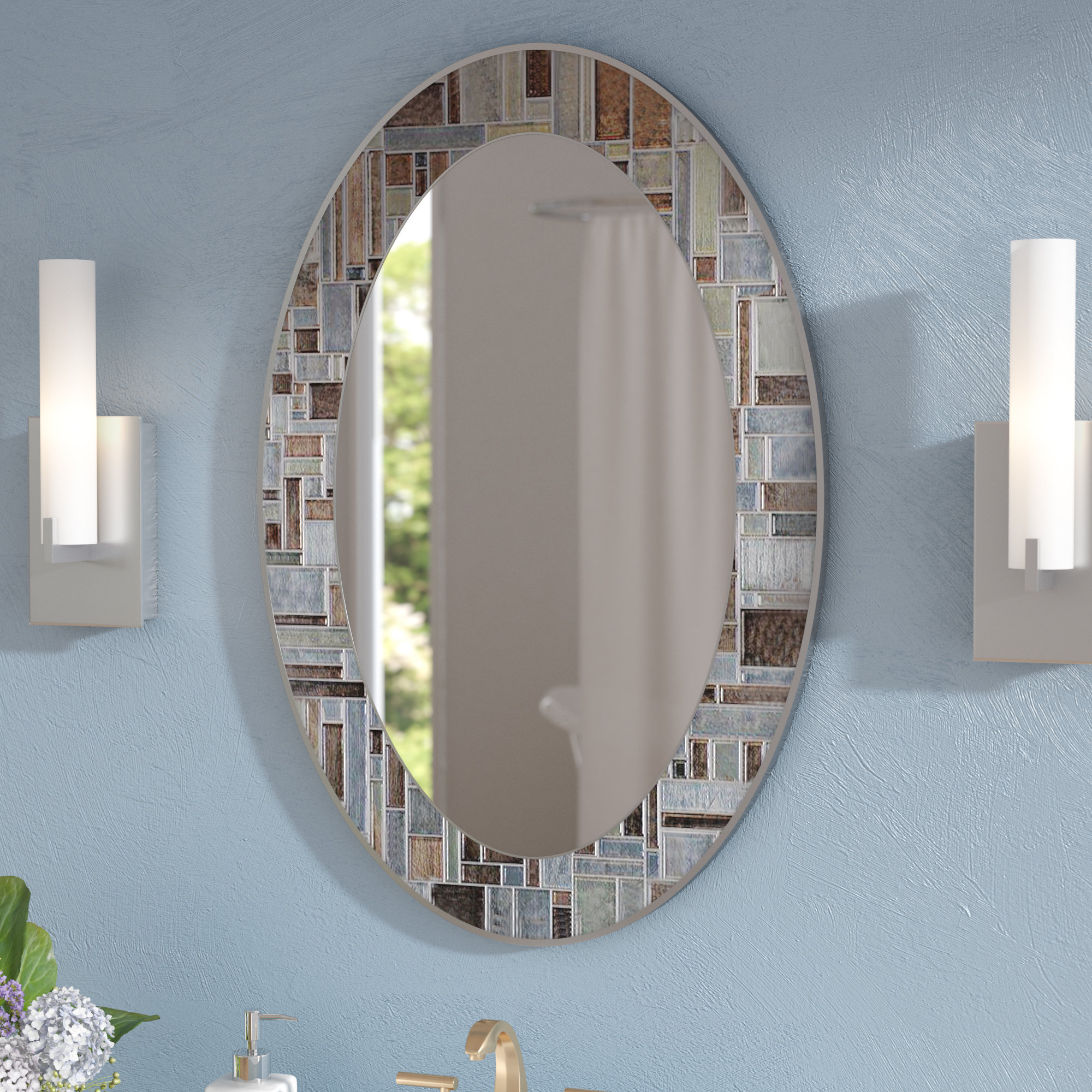 Recent Hussain Oval Deep Engravings Accent Wall Mirror Throughout Hussain Tile Accent Wall Mirrors (View 2 of 20)