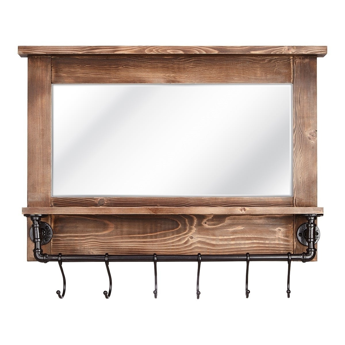 Recent Imax Afia Brown Wood Frame Wall Mirror With Shelf And Hooks Within Wall Mirrors With Shelf And Hooks (View 11 of 20)