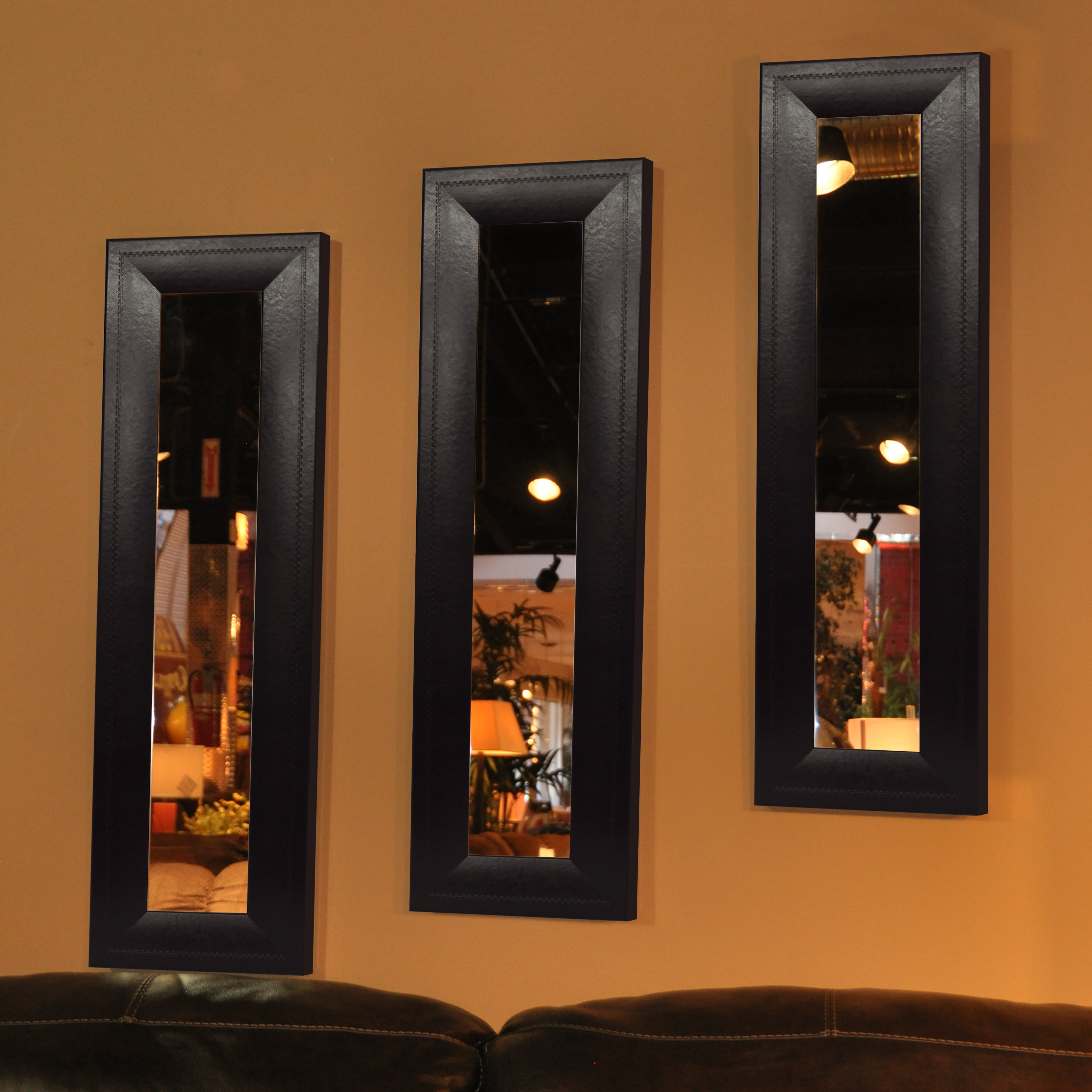 Recent Kincannon American Made Espresso Leather Wall Mirror Intended For Espresso Wall Mirrors (Gallery 12 of 20)
