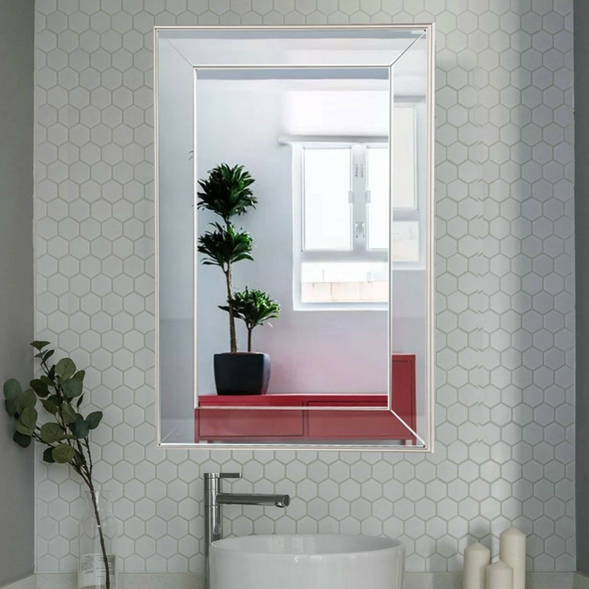 Recent Large Flat Mounted Beveled Frame Framed Wall Mirror 30.5X20X1 Inch Facing  Glass Throughout Large Framed Wall Mirrors (Gallery 13 of 20)