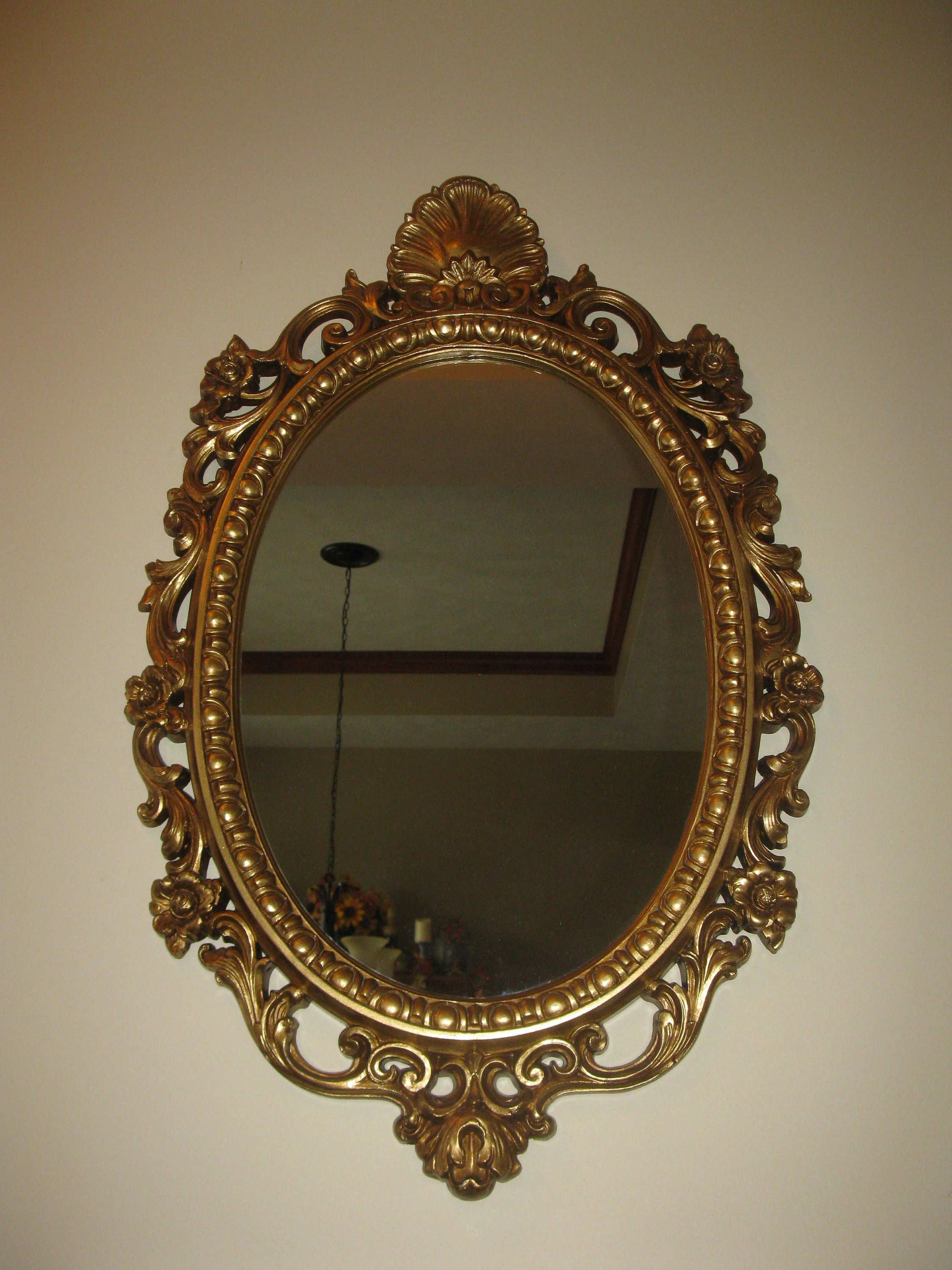 Recent Large Plastic Wall Mirrors Intended For Large Ornate Wall Mirror Oval Shape Plastic Framed (View 6 of 20)