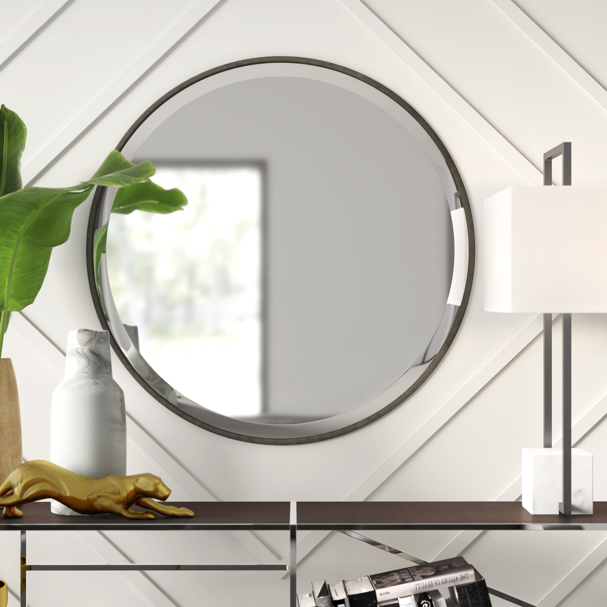 Recent Levan Modern & Contemporary Accent Mirror For Hub Modern And Contemporary Accent Mirrors (View 12 of 20)