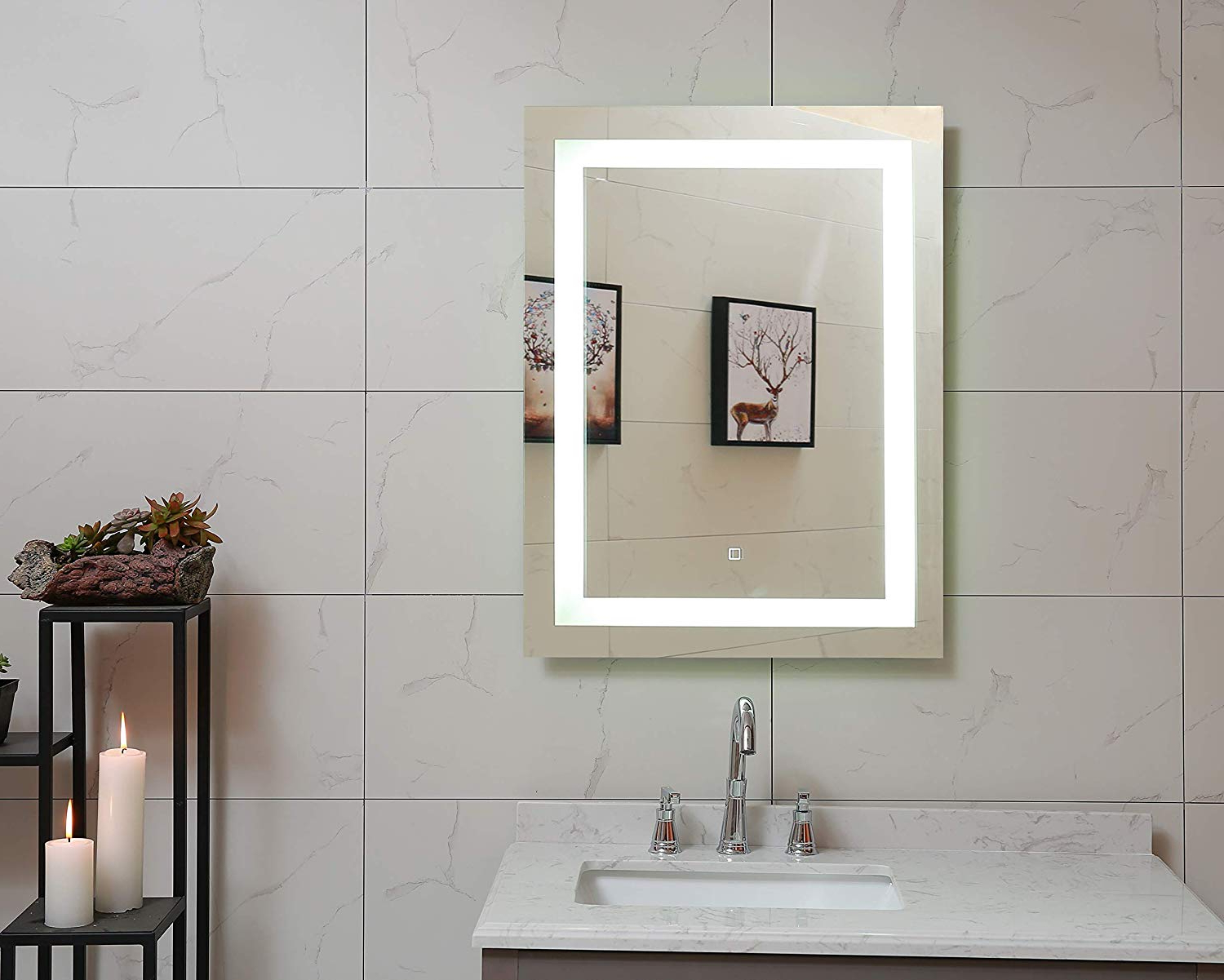 Recent Lighted Wall Mirrors For Bathrooms With Regard To 24x30 Inch Led Lighted Bathroom Mirror With Dimmable Touch Switch (gs099h 2430)(24x30 Inch) (View 12 of 20)