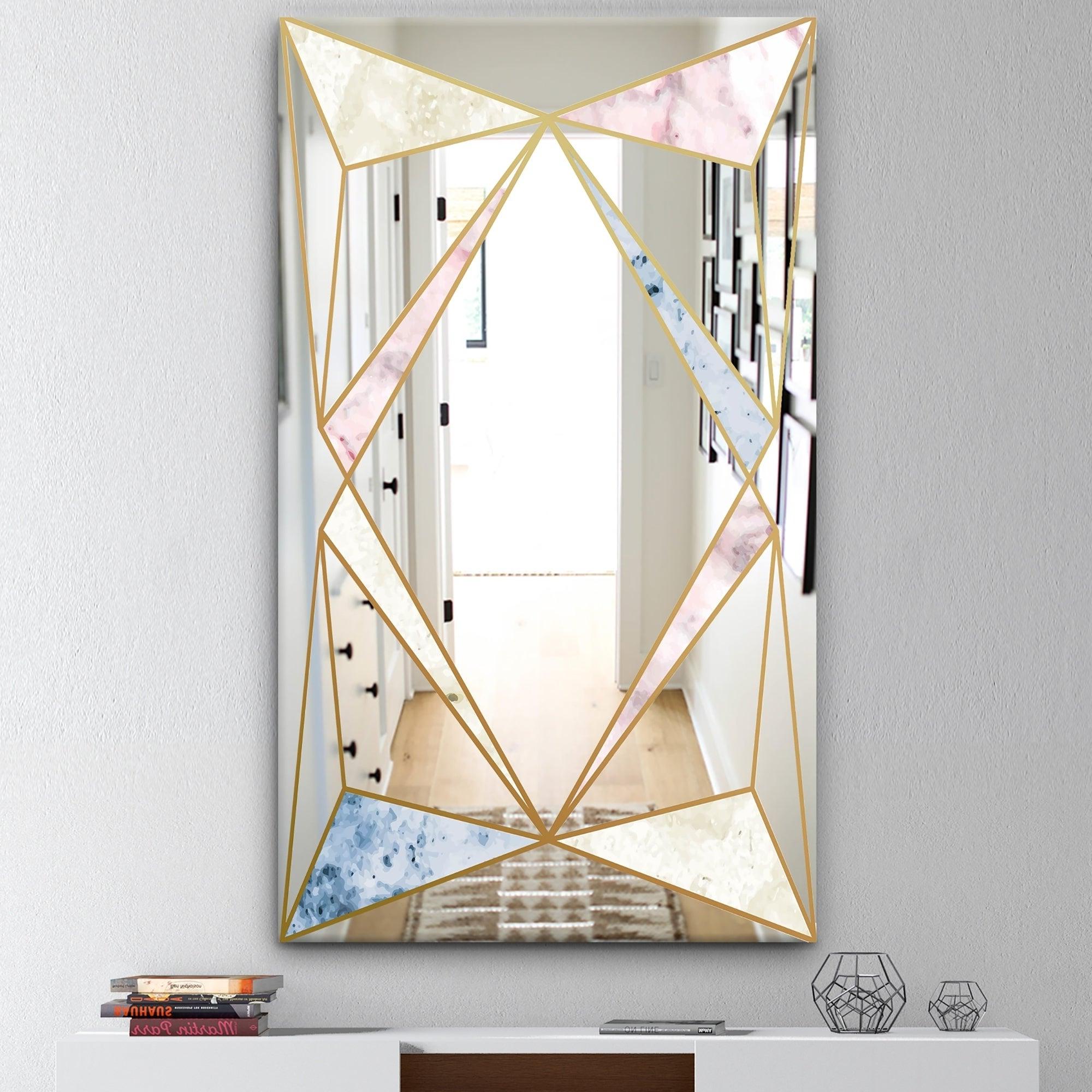 Recent Mid Century Modern Wall Mirrors Within Designart 'marbled Diamond 2' Mid Century Mirror – Modern Wall Mirror – Gold (Gallery 1 of 20)