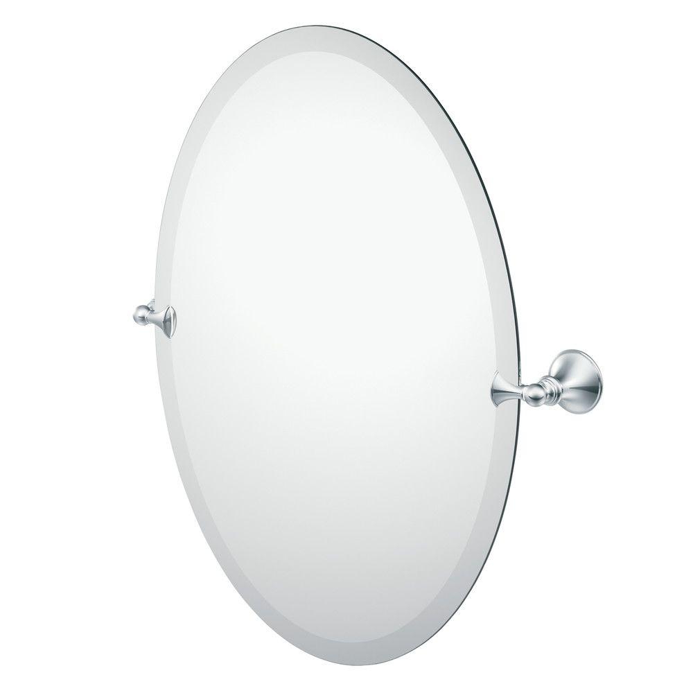Recent Moen Glenshire 26 In. X 22 In. Frameless Pivoting Wall Mirror In Chrome Pertaining To Tilting Wall Mirrors (Gallery 20 of 20)