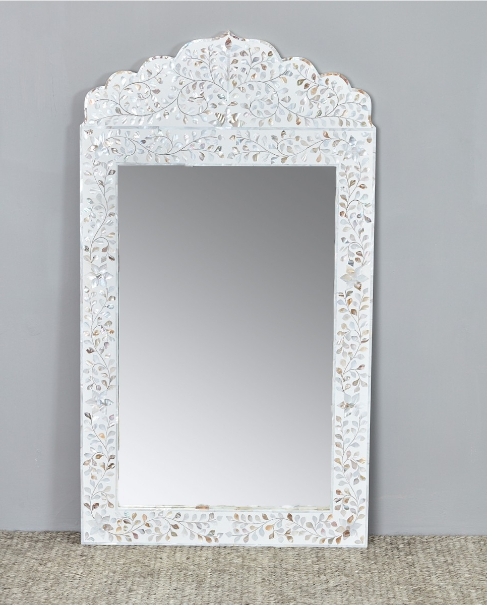 Recent Mother Of Pearl Wall Mirrors Intended For Floral Mop Inlay Arch Mirror Frame, White (View 9 of 20)