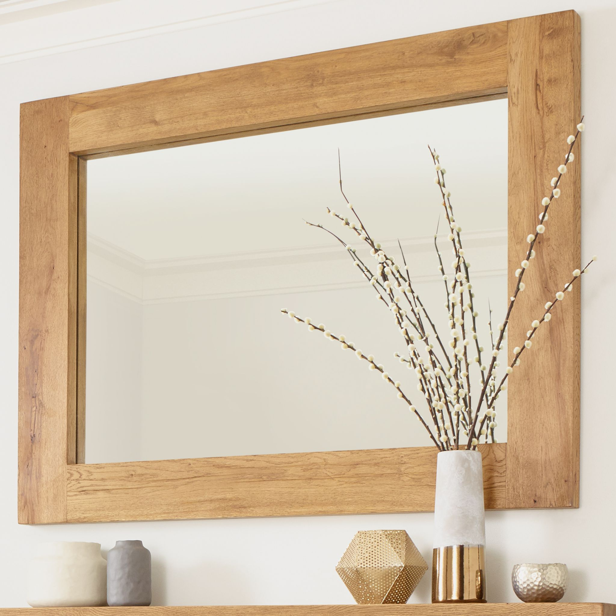 Recent Oak Wall Mirrors Regarding Solid Oak Banbury Wall Mirror Rustic Character (Gallery 12 of 20)