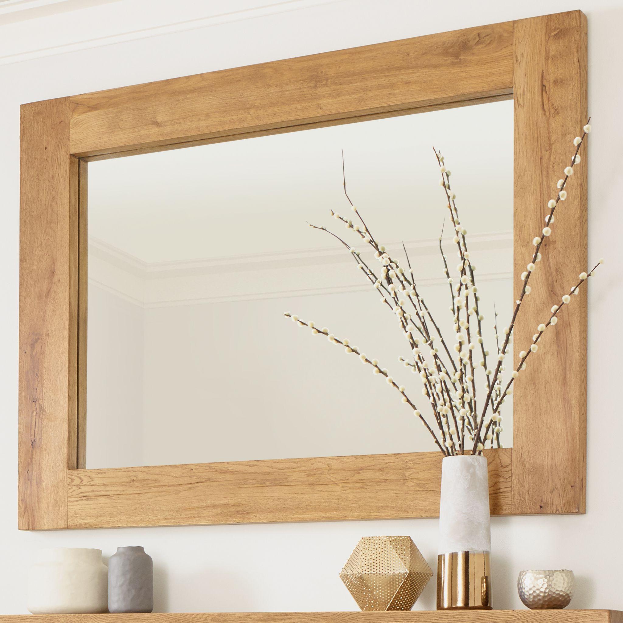 Recent Oak Wall Mirrors Regarding Solid Oak Banbury Wall Mirror Rustic Character (View 12 of 20)