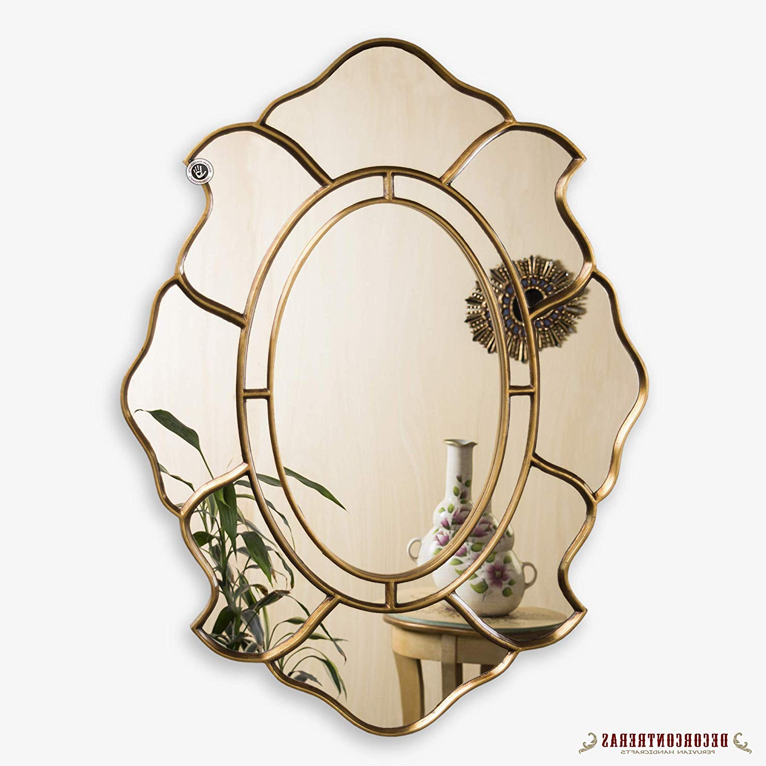 Recent Oval Metallic Accent Mirrors Throughout Amazon: Gold Oval Accent Wall Mirror, Decorative Oval Mirror For (View 9 of 20)