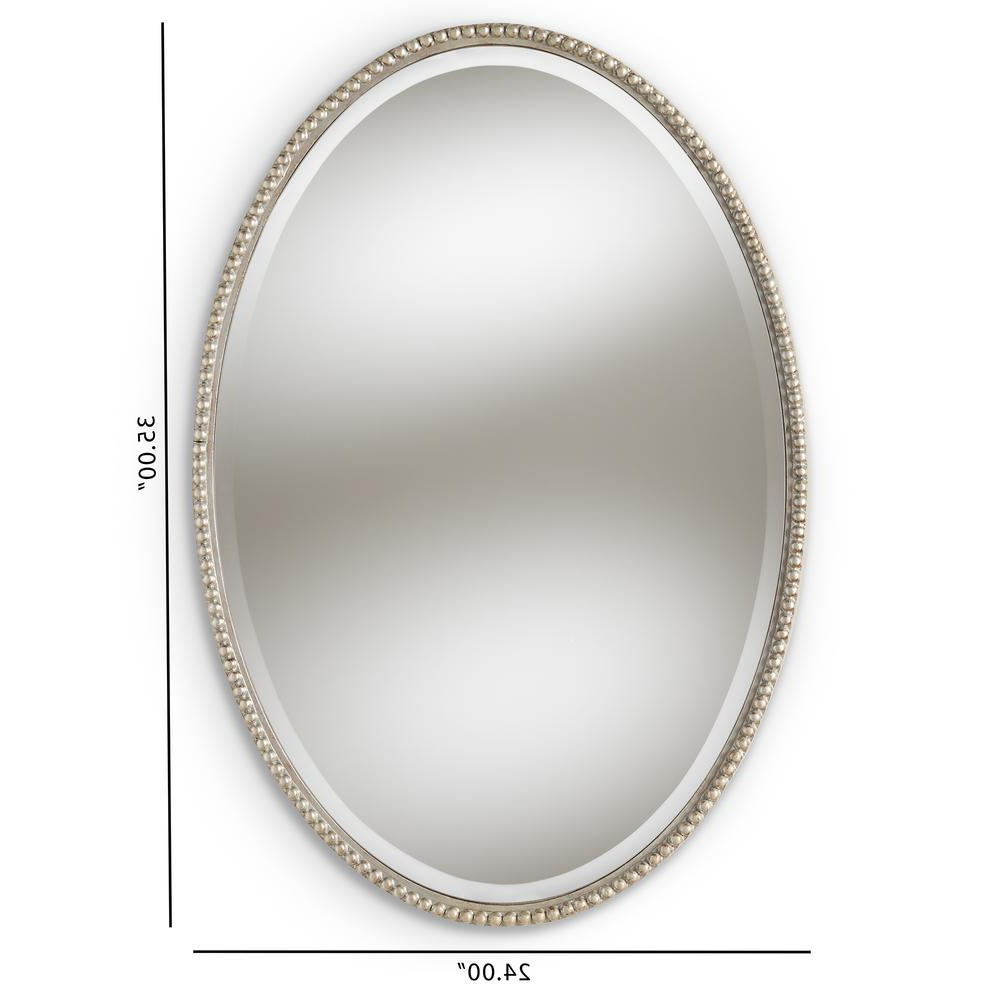 Recent Oval Shaped Wall Mirrors Intended For Graca Antique Silver Wall Mirror (View 18 of 20)