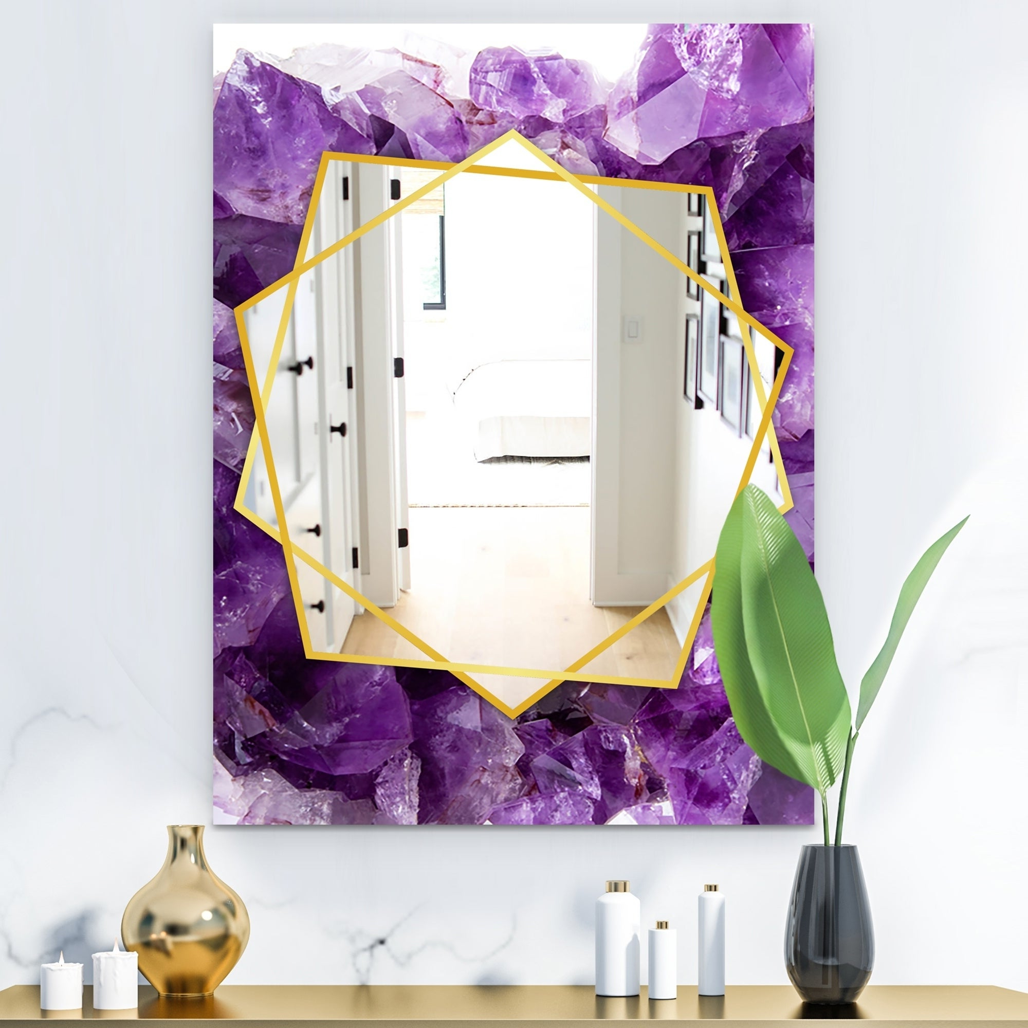 Recent Purple Wall Mirrors In Designart 'purple Amethyst' Modern Mirror – Frameless Contemporary Wall  Mirror – Purple (Gallery 10 of 20)