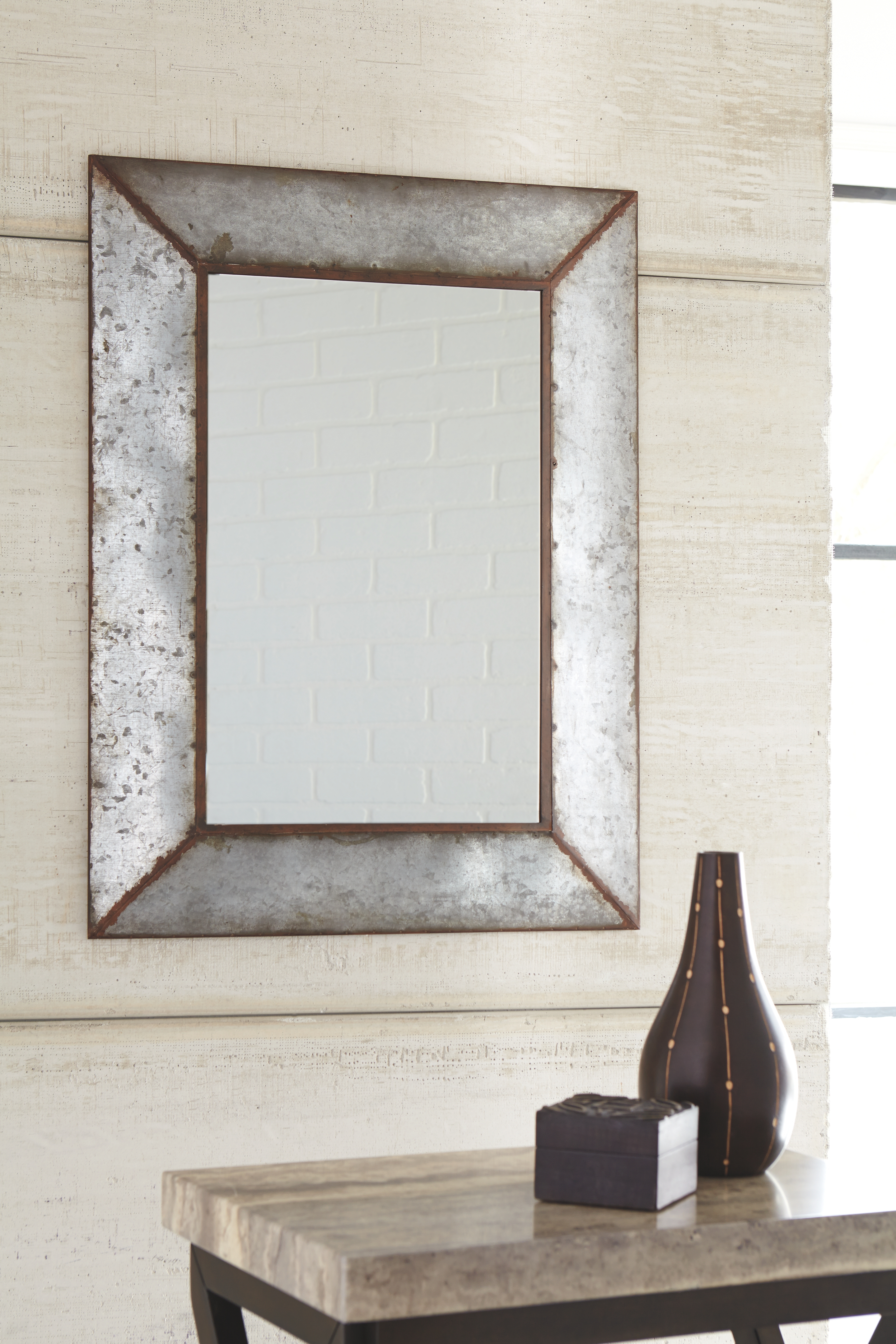Recent Rectangle Antique Galvanized Metal Accent Mirrors Pertaining To O'tallay Accent Mirror, Antique Gray (View 3 of 20)