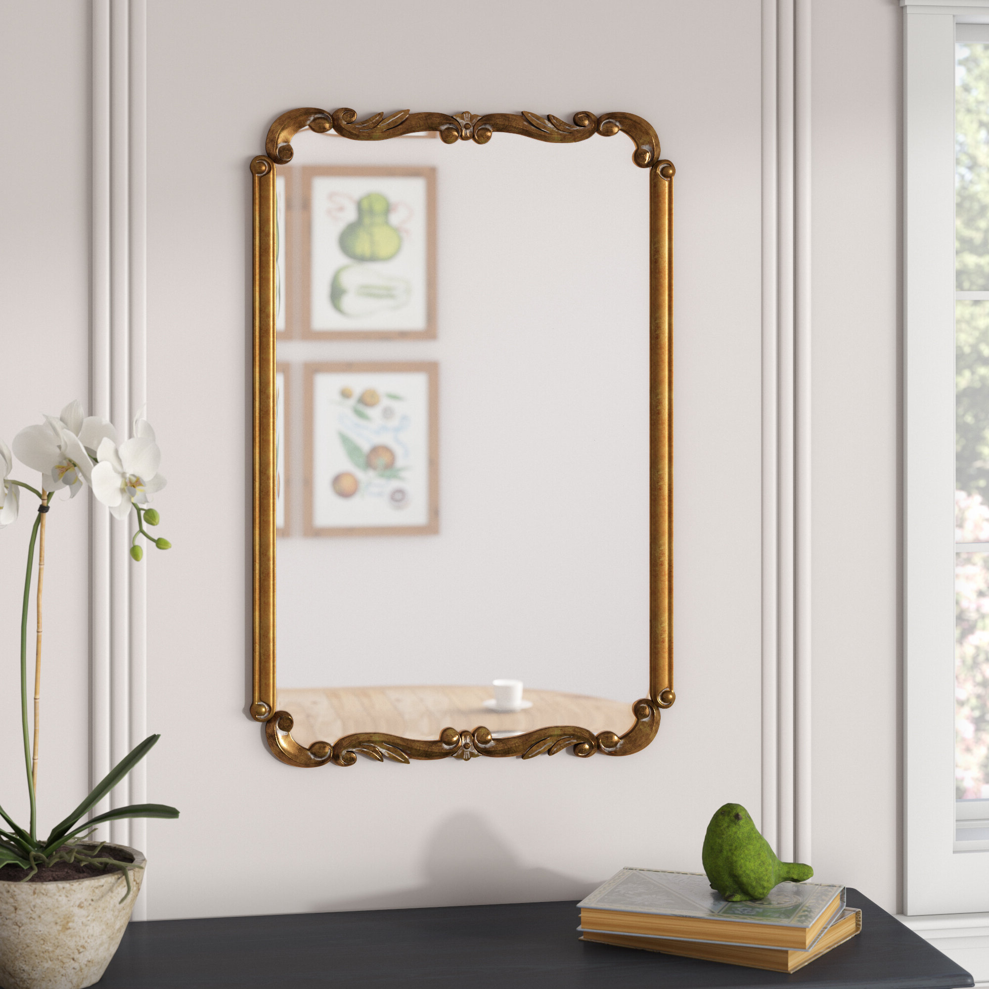 Recent Rectangle Gold Wall Mirror Throughout Saylor Wall Mirrors (Gallery 2 of 20)