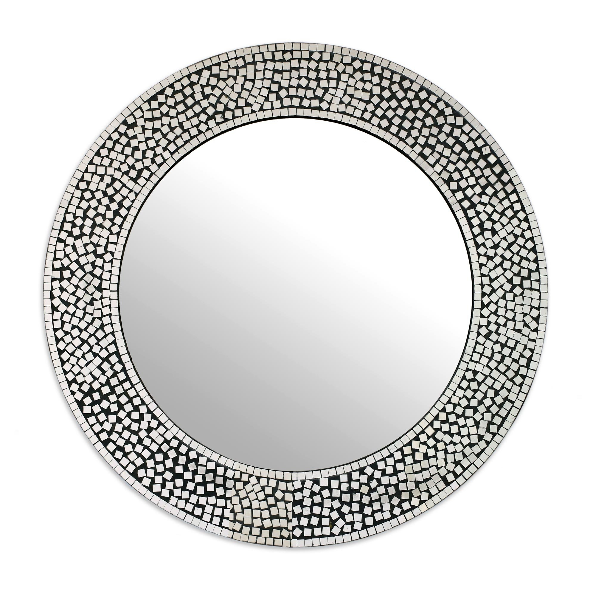 Recent Round Eclectic Accent Mirrors Inside Pinner Mosaic Round Shimmer Eclectic Accent Mirror (View 8 of 20)