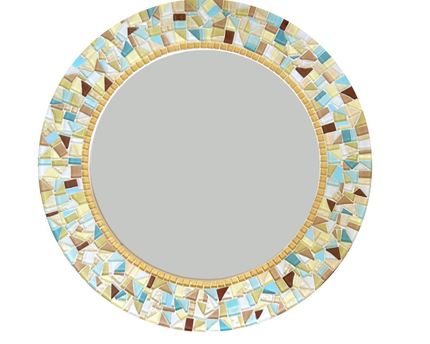 Recent Round Mosaic Wall Mirrors For Wall Mirror // Round Mosaic Mirror // Decorative Mirror // Wall Decor // Yellow, Gold, Aqua, Tan (View 5 of 20)