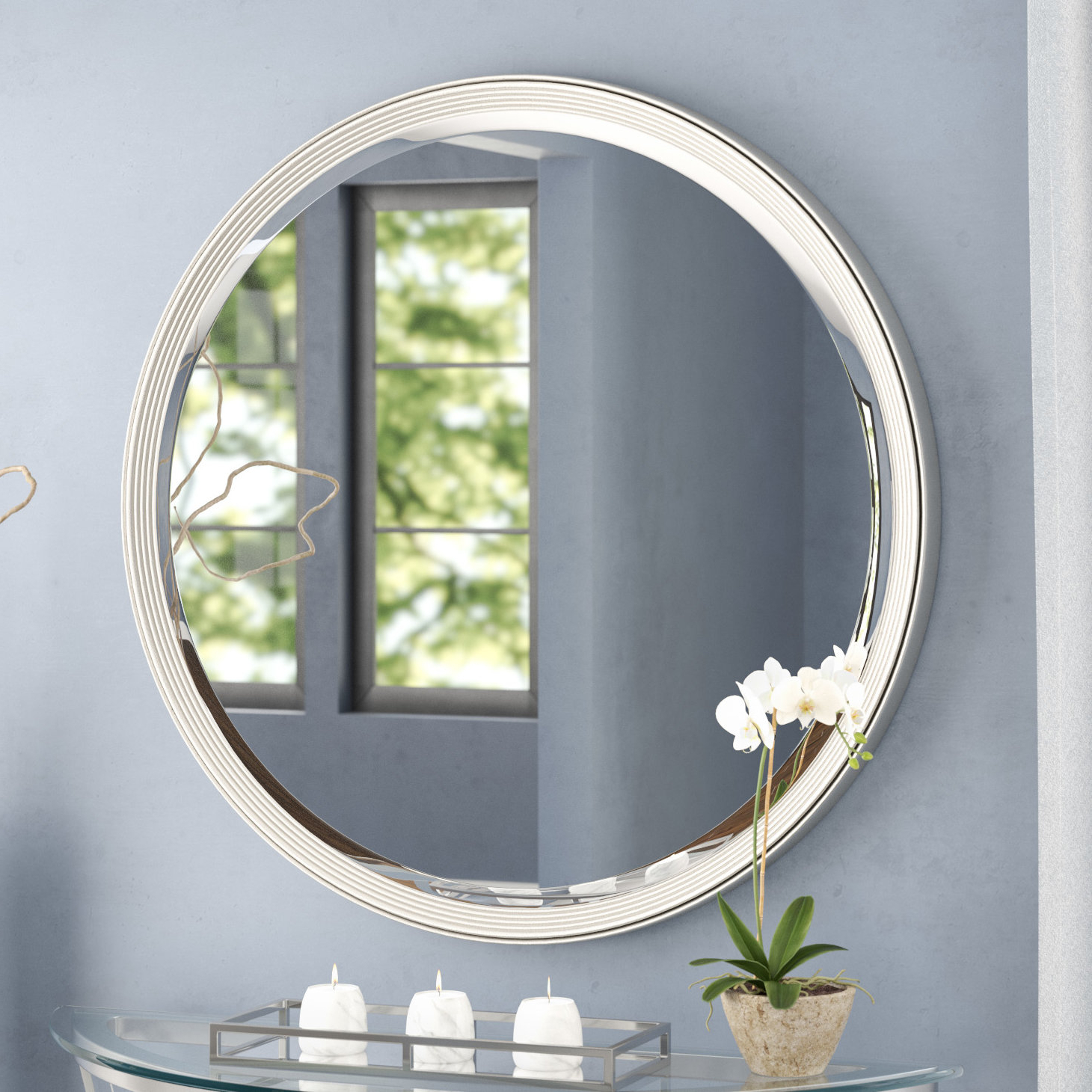 Recent Silver Frame Accent Mirrors Regarding Round Silver Accent Wall Mirror (View 11 of 20)