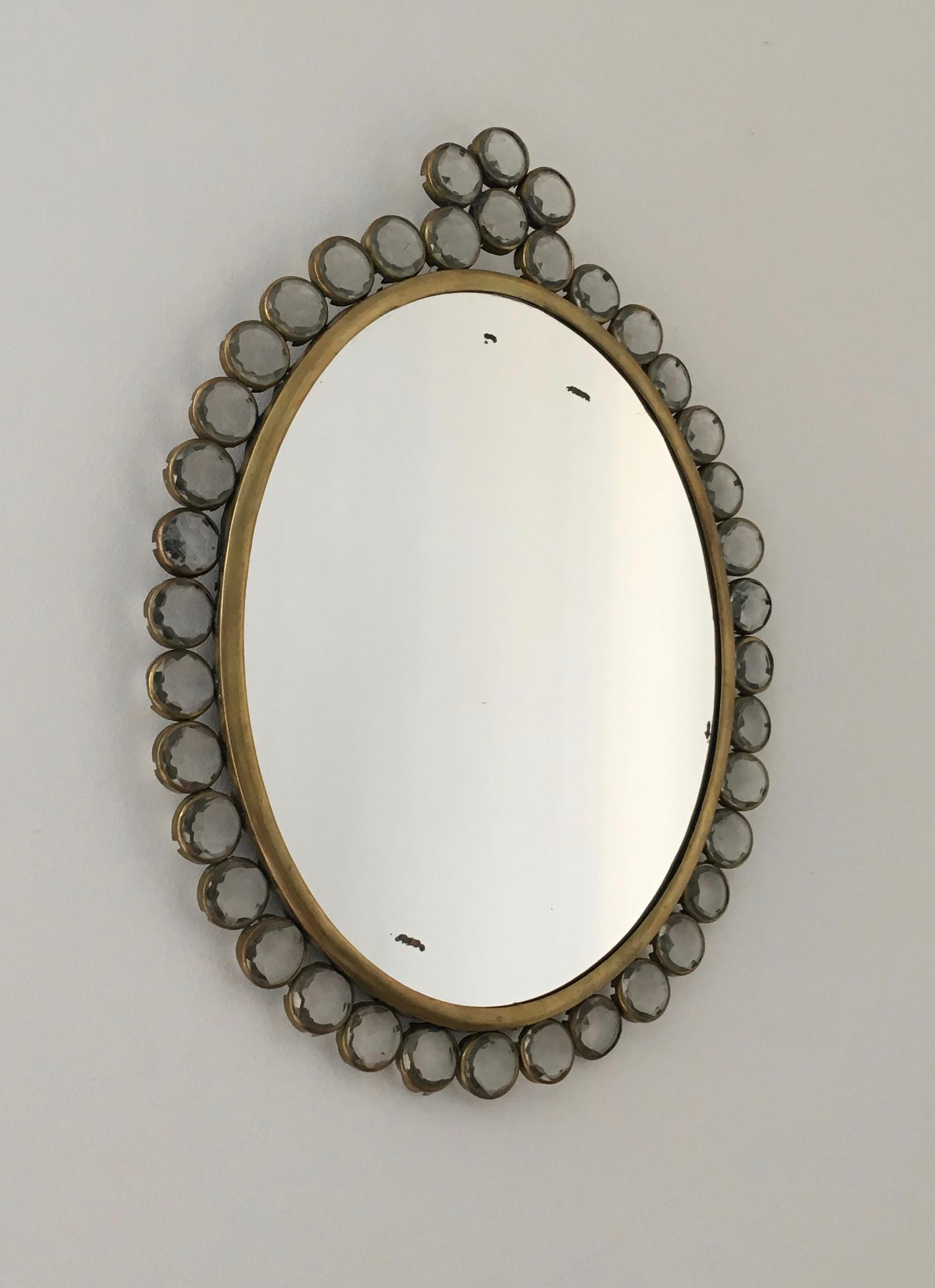 Recent Small Wall Mounted Mirror With Decorative Glass And Brass Frame, European Intended For Small Decorative Wall Mirrors (Gallery 18 of 20)