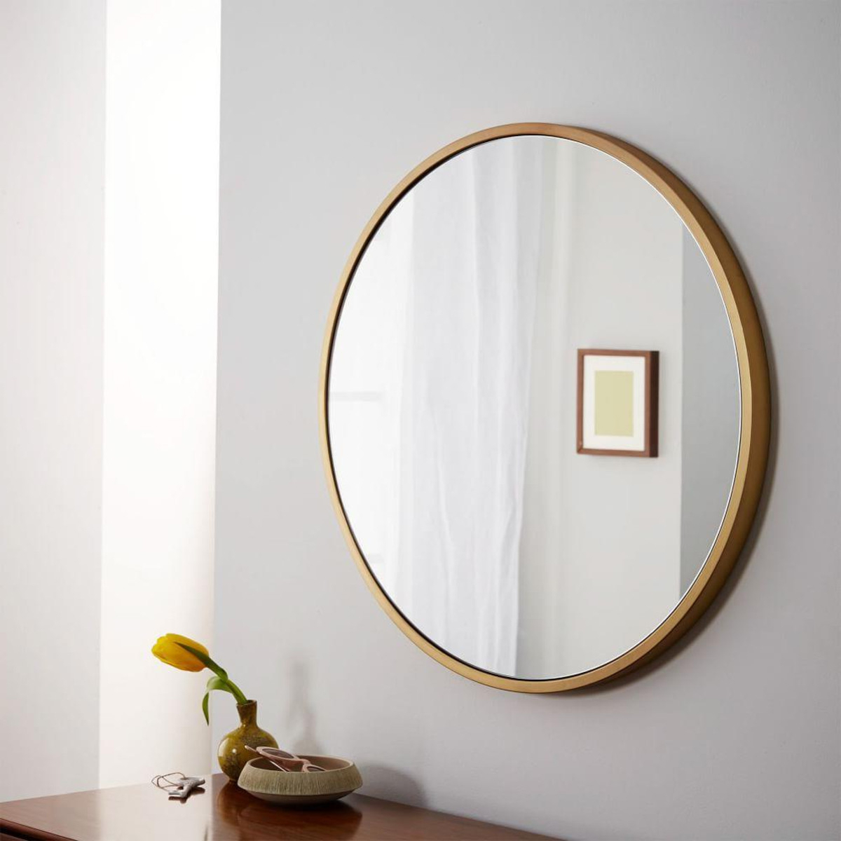 Recent Soar Round Wall Mirror Metal Framed West Elm Uk Pertaining To Point Reyes Molten Round Wall Mirrors (View 17 of 20)