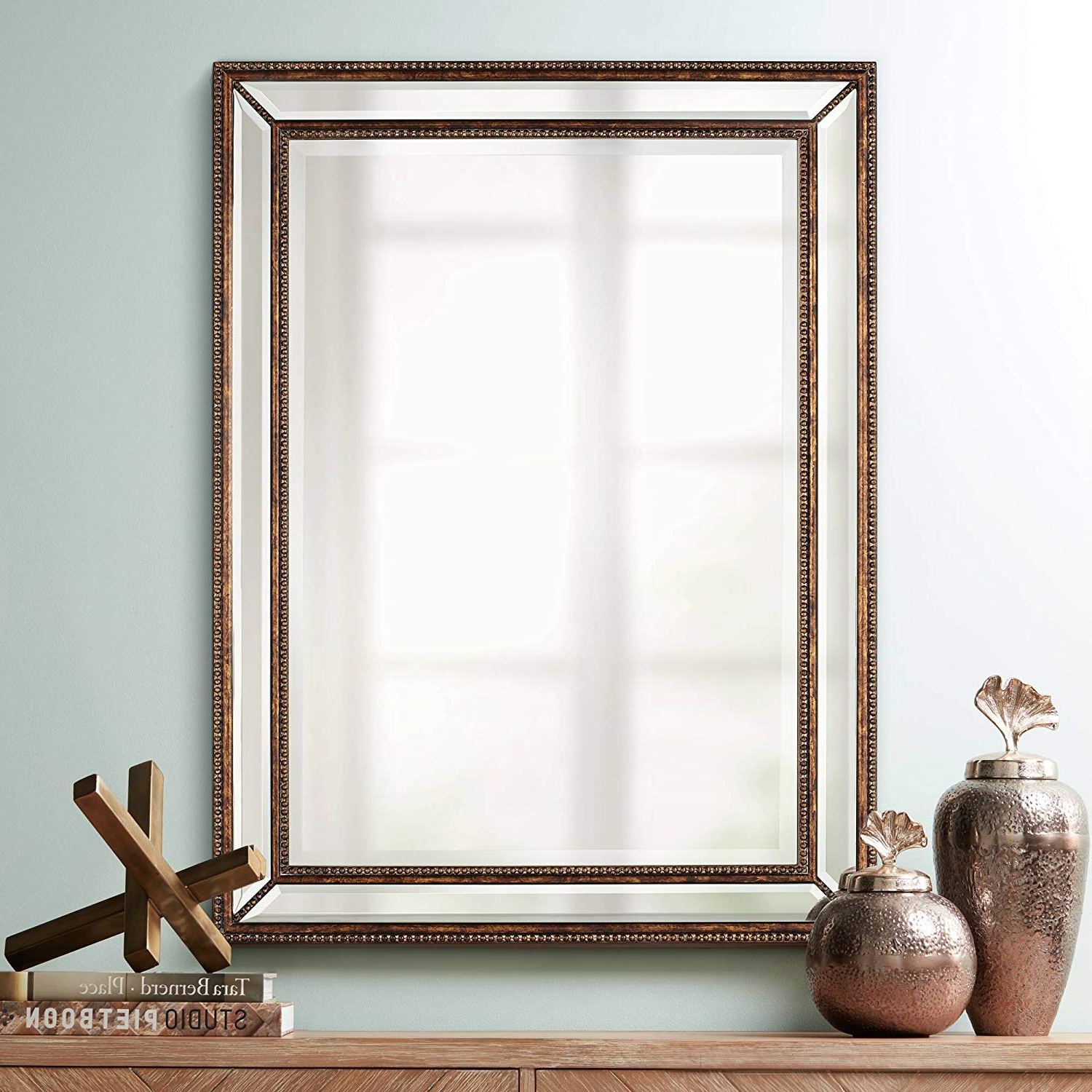 """Recent Uttermost Palais Beaded 30"""" X 40"""" Bronze Wall Mirror In Antiqued Wall Mirrors (Gallery 7 of 20)"""