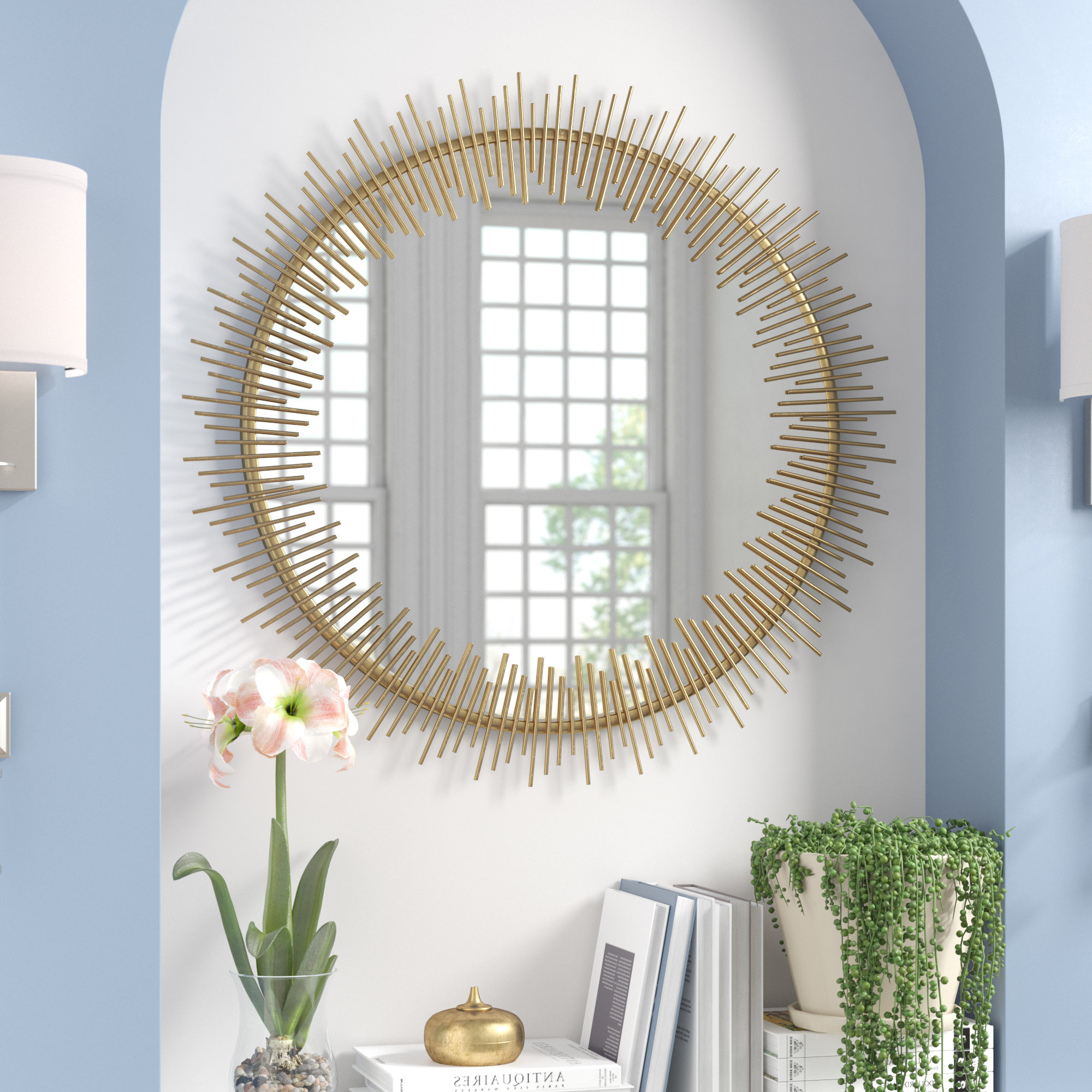 Recent Wald Round Sunray Circle Wall Mirror Intended For Sun Ray Wall Mirrors (Gallery 15 of 20)