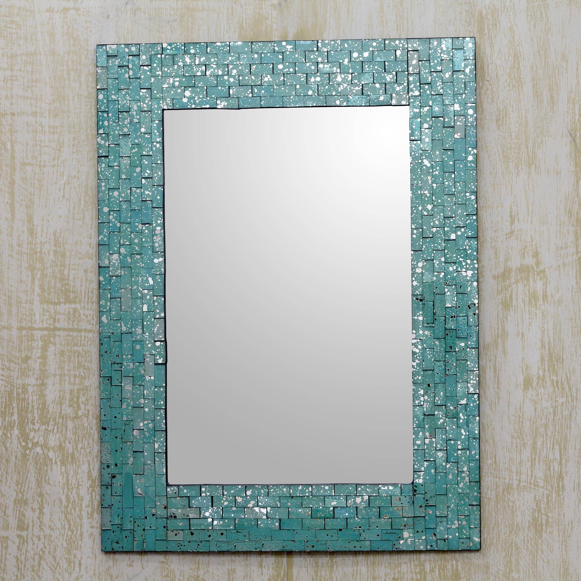 Recent Wall Mirror And Frame Handcrafted With Aqua Mosaics, 'aqua Cosmos' Within Aqua Wall Mirrors (View 10 of 20)