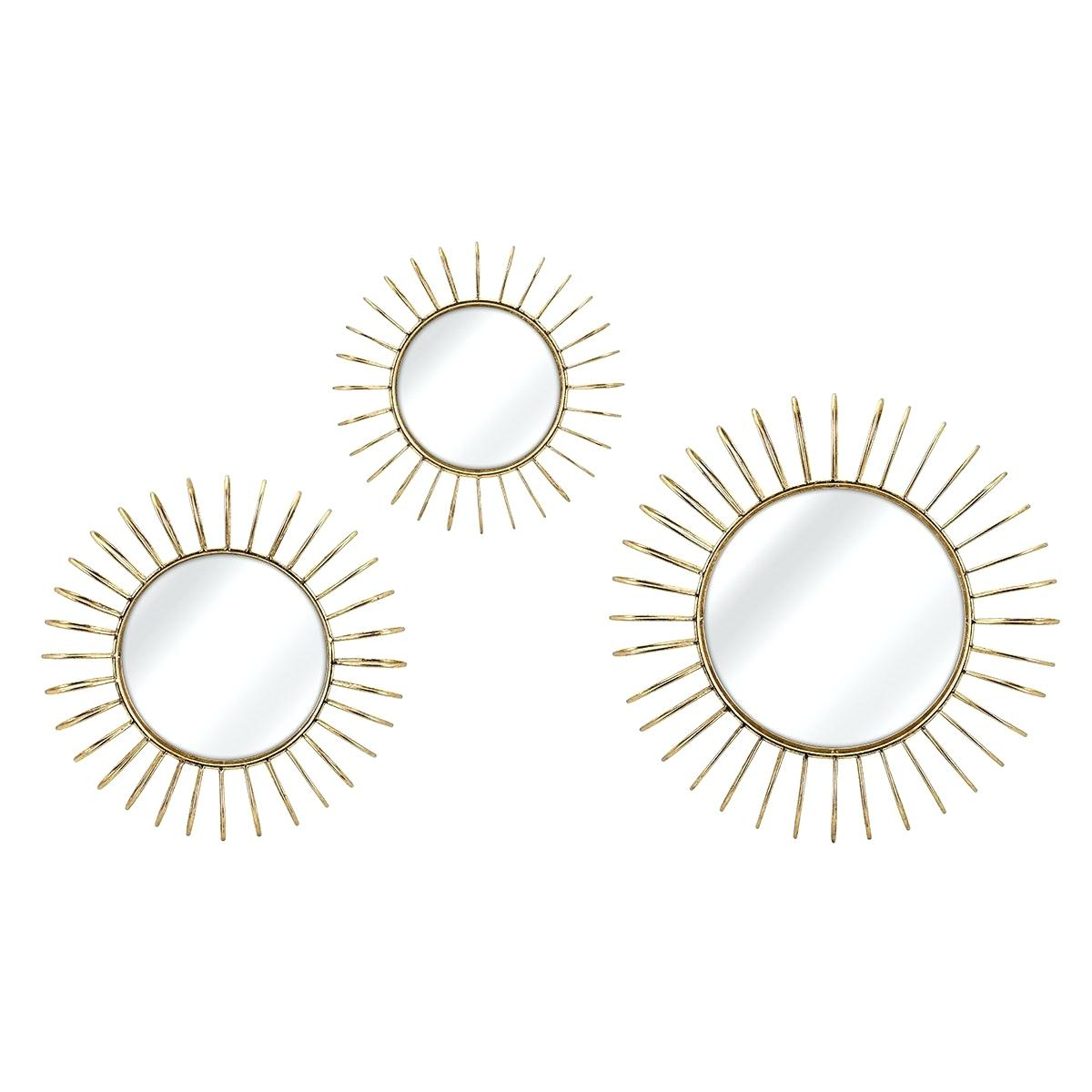 Recent Wall Mirror Set Of 3 Wade Piece Reviews Sunburst Art Pertaining To Talida Wall Mirrors (View 12 of 20)