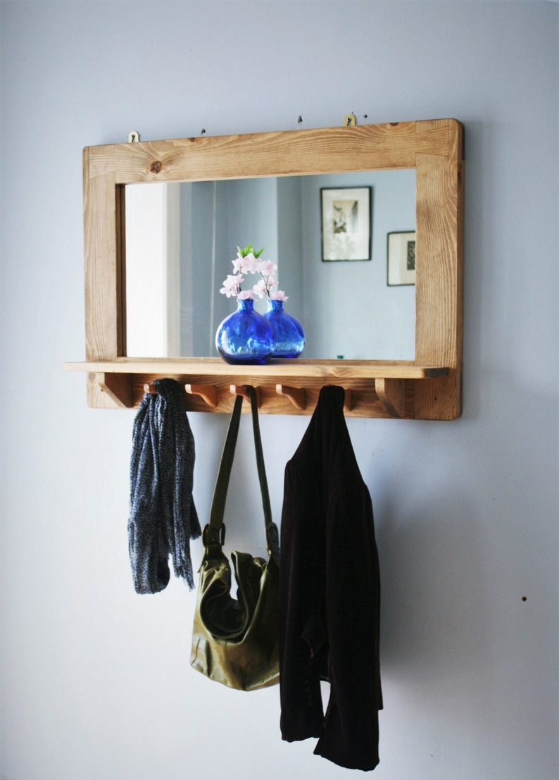 Recent Wall Mirrors With Shelf And Hooks Throughout Large Mirror With Shelf & 5 Hooks, Pale Wooden Frame In Natural Eco  Friendly Wood, Custom Sizes, Handmade Modern Rustic Style In Somerset (View 12 of 20)