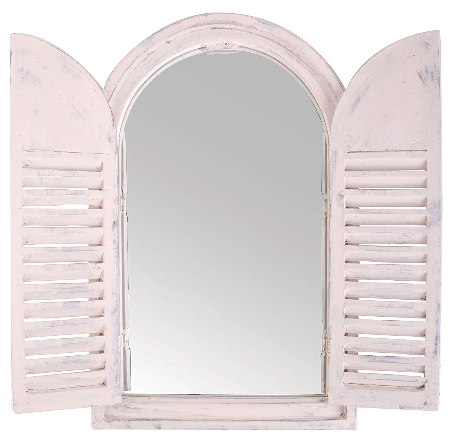 Recent Wall Mirrors With Shutters In Esschert Design Wall Mirror With Shutters, In White, 2 Louvre Doors – 59 Cm X 15 Cm X (View 4 of 20)