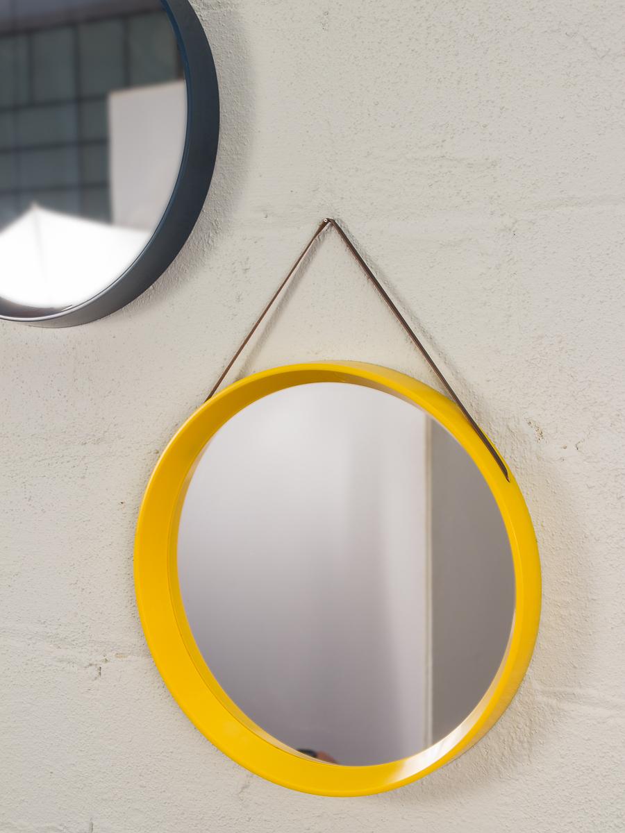 Recent Yellow Wall Mirrors Inside Danish Modern Yellow Circular Wall Mirror — Oam (View 5 of 20)