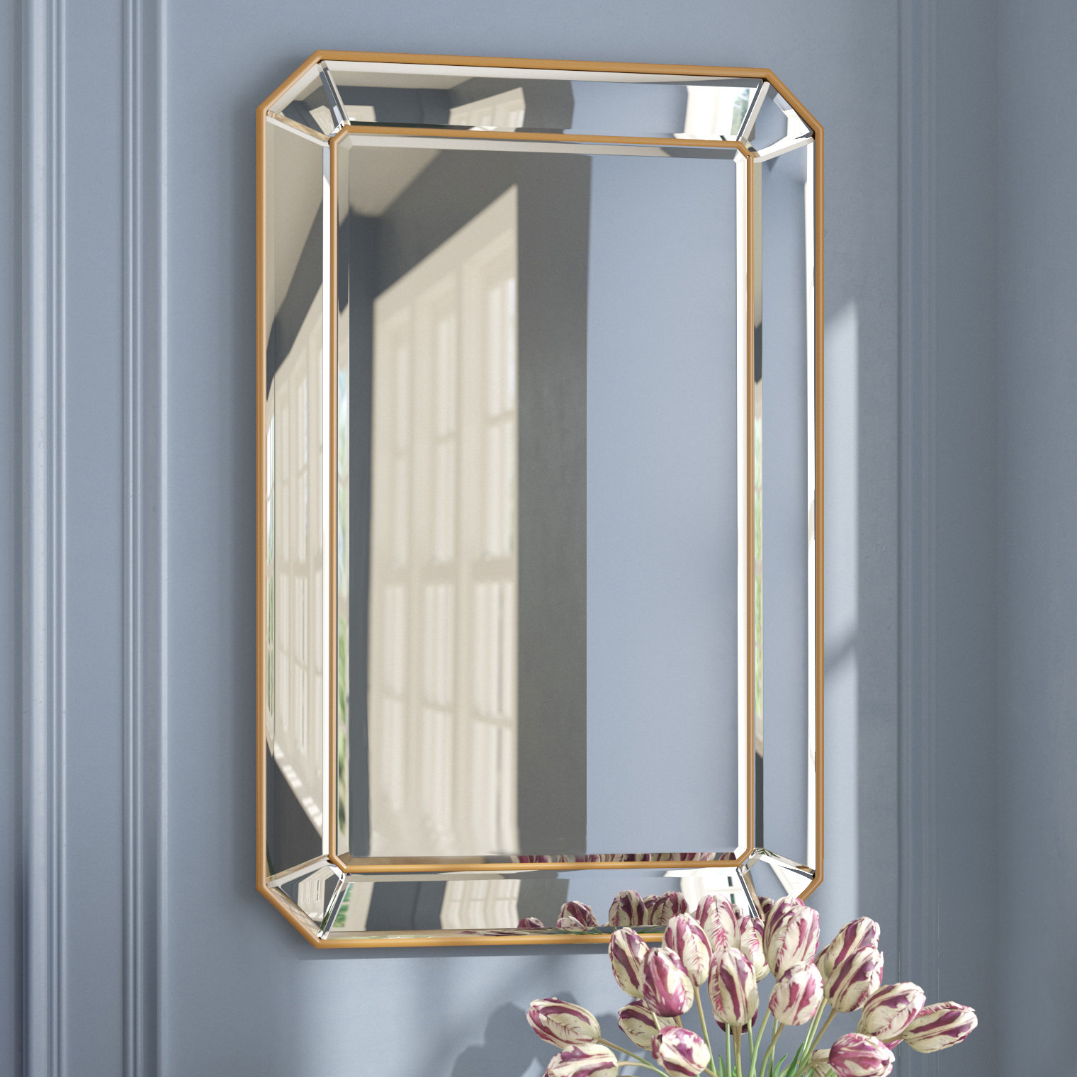 Rectangle Accent Wall Mirrors In Trendy Briley Rectangle Gold Angled Accent Wall Mirror (Gallery 6 of 20)