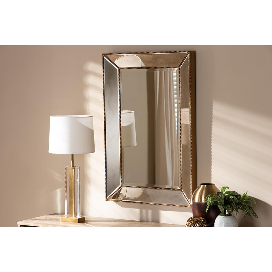 Rectangle Accent Wall Mirrors Regarding Well Liked Neva Modern And Contemporary Antique Gold Finished Rectangular Accent Wall Mirrorbaxton Studio (View 17 of 20)