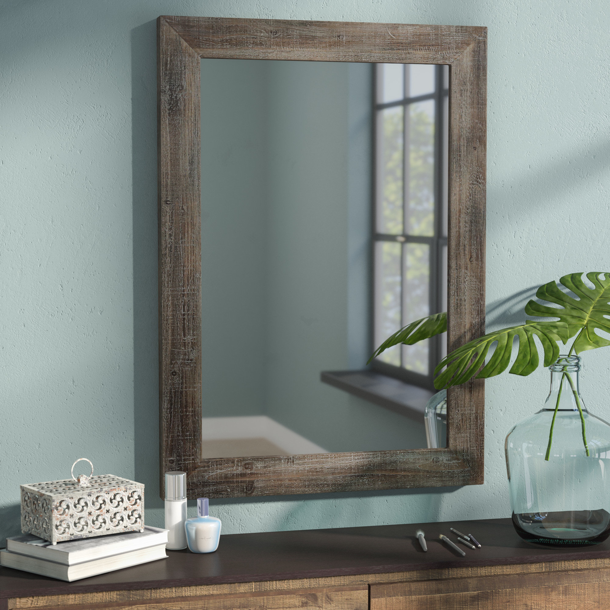Rectangle Accent Wall Mirrors Throughout Most Recently Released Rectangle Wood Accent Wall Mirror (View 11 of 20)