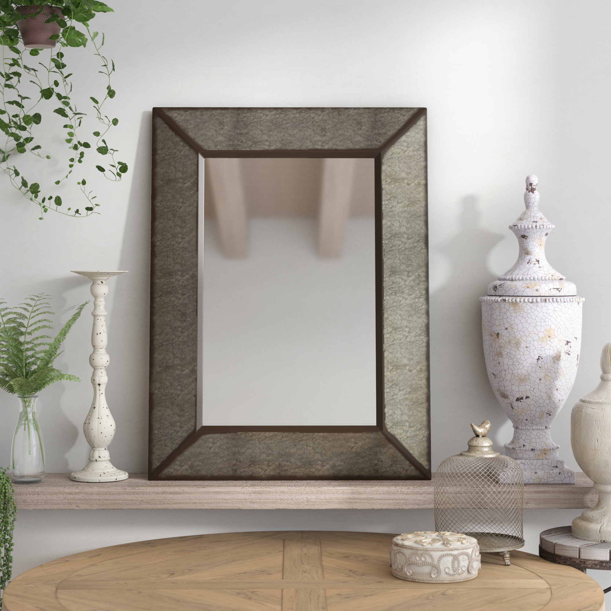 Rectangle Antique Galvanized Metal Accent Mirror With Regard To Preferred Maude Accent Mirrors (View 16 of 20)
