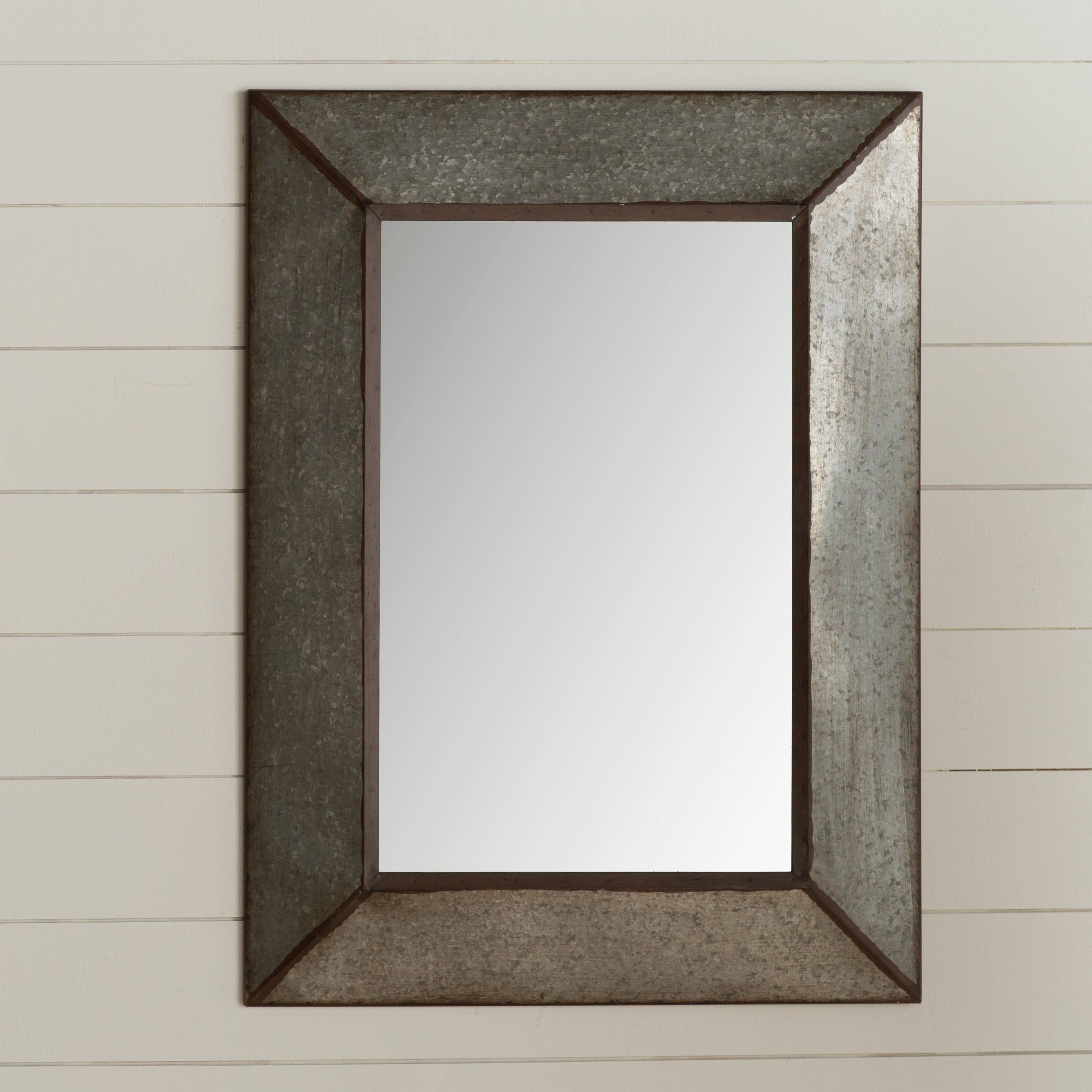 Rectangle Antique Galvanized Metal Accent Mirror (View 4 of 20)