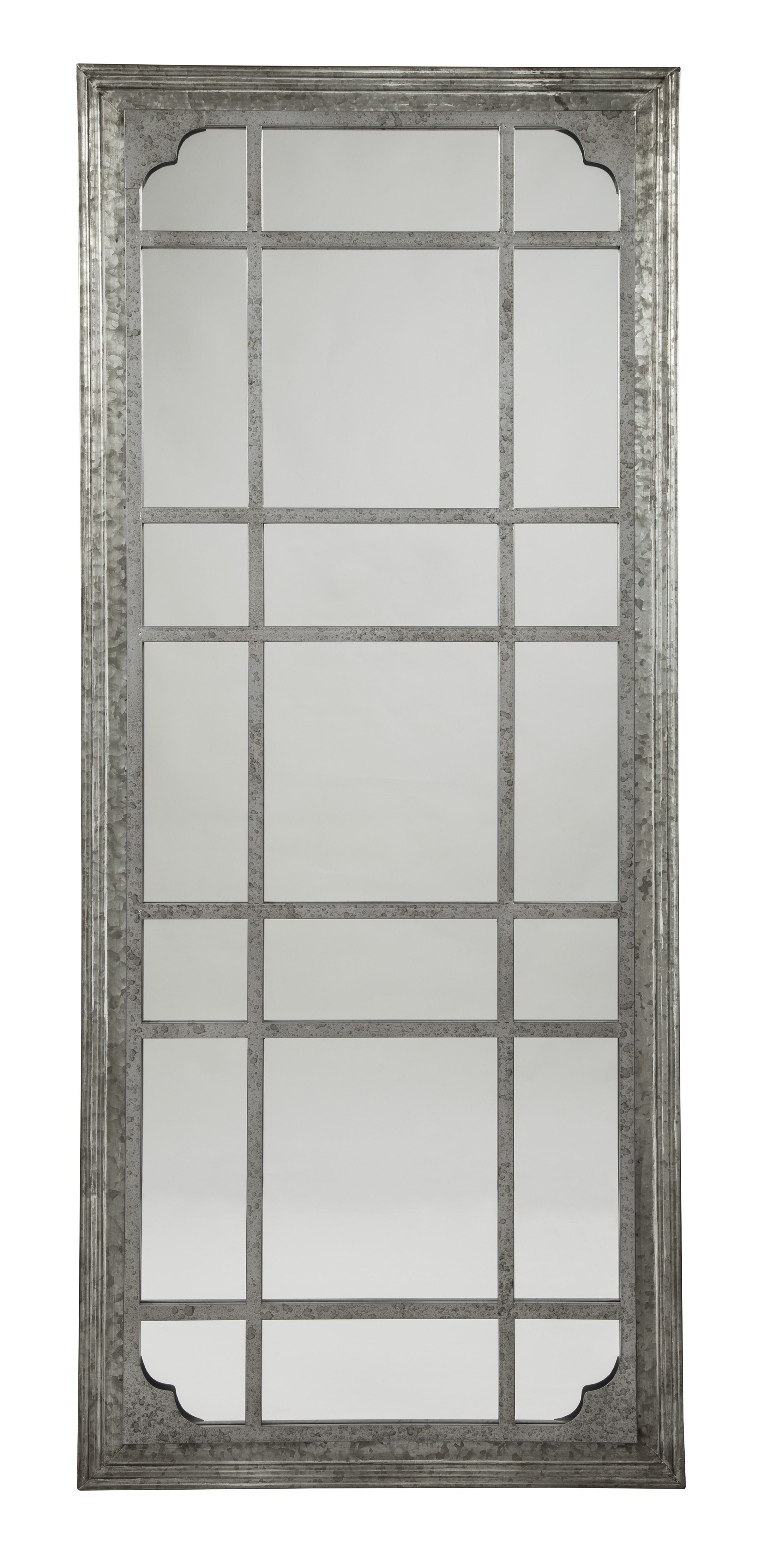 Rectangle Antique Galvanized Metal Accent Mirrors Pertaining To Well Liked Ashley Furniture Remy Antique Gray Accent Mirror (View 6 of 20)