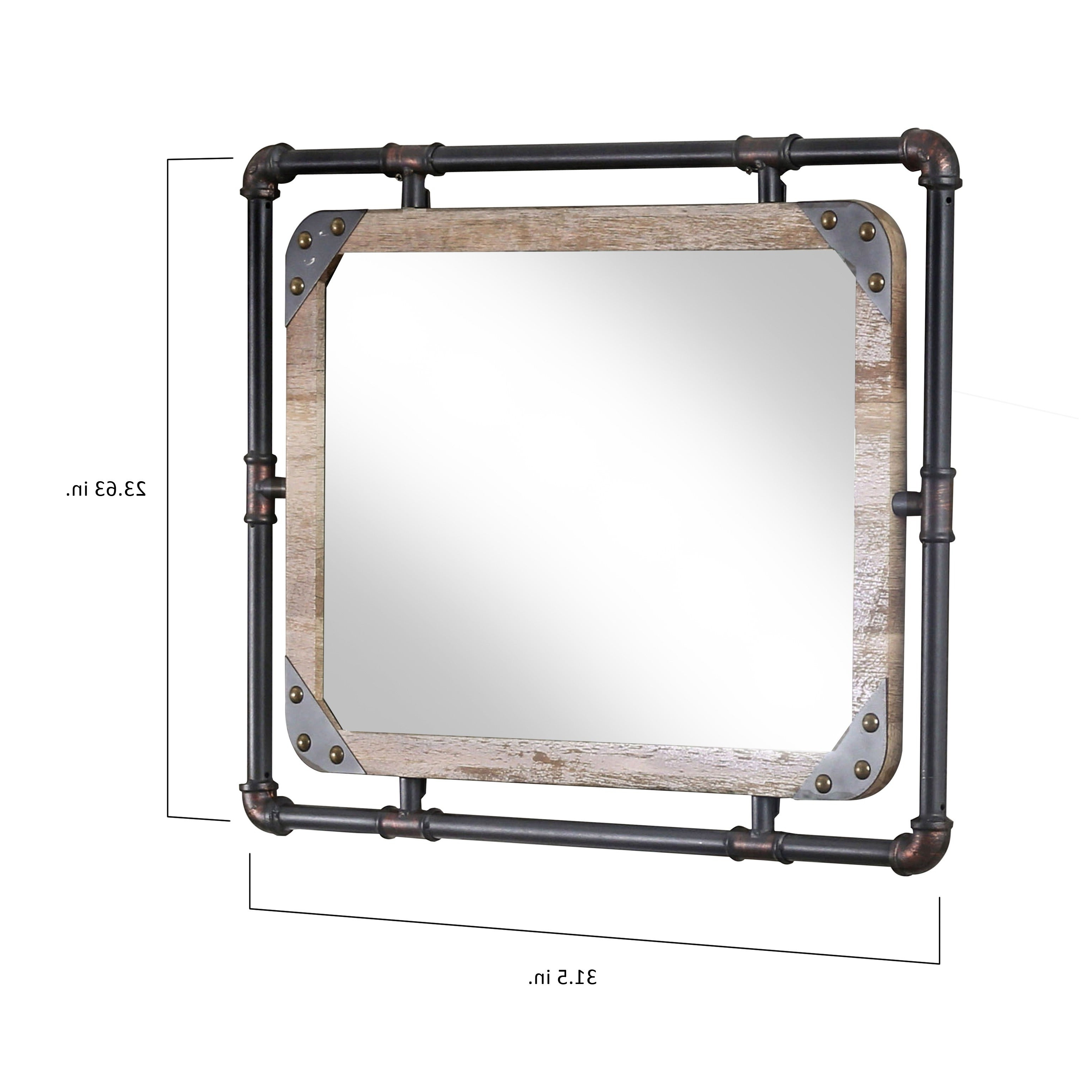 Rectangle Antique Galvanized Metal Accent Mirrors Throughout Popular Furniture Of America Revo Industrial Distressed Wall Mirror (View 7 of 20)
