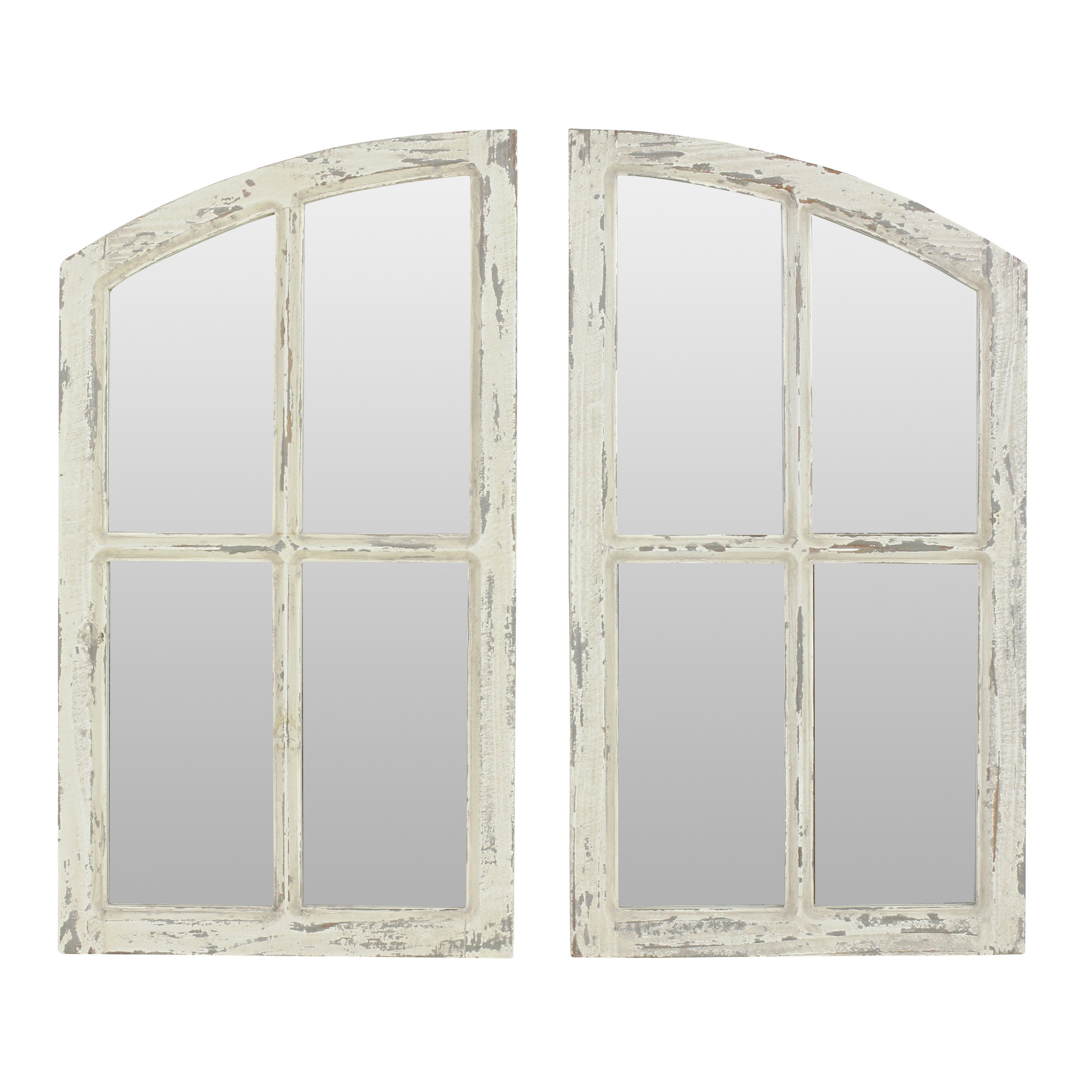 Rectangle Antique Galvanized Metal Accent Mirrors With Regard To Famous 2 Piece Kissena Window Pane Accent Mirror Set (View 15 of 20)