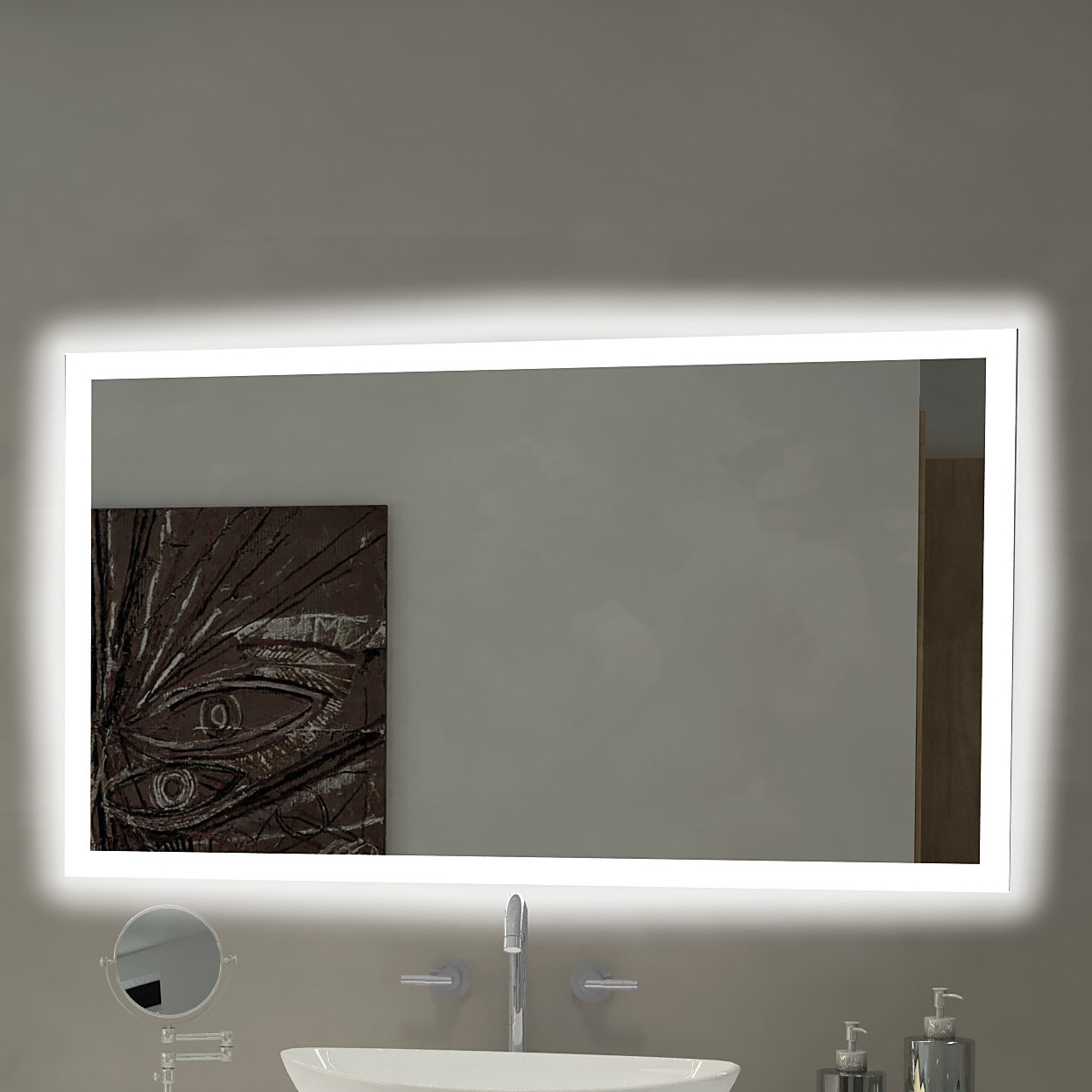 Rectangle Backlit Bathroom/vanity Wall Mirror For 2020 Vanity Wall Mirrors (View 1 of 20)