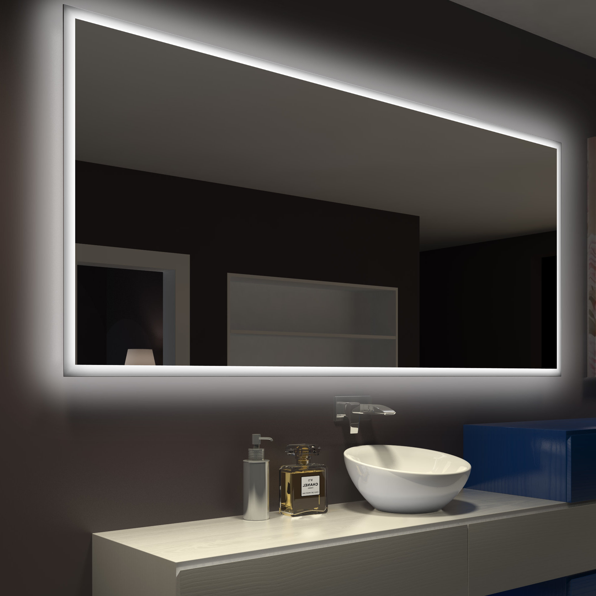 Rectangle Backlit Bathroom/vanity Wall Mirror Intended For Most Popular Bathroom Vanity Wall Mirrors (View 5 of 20)
