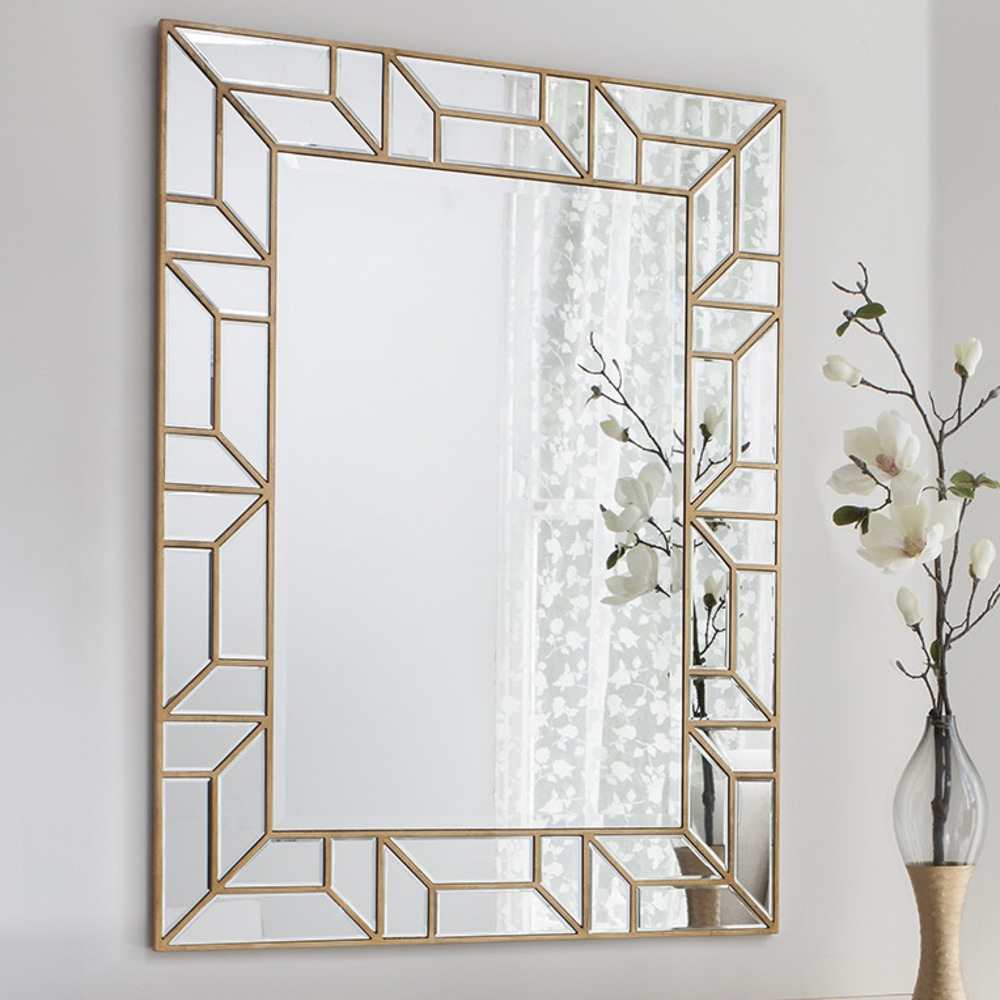 Rectangle Mirror For Wall Throughout Rectangle Ornate Geometric Wall Mirrors (View 9 of 20)