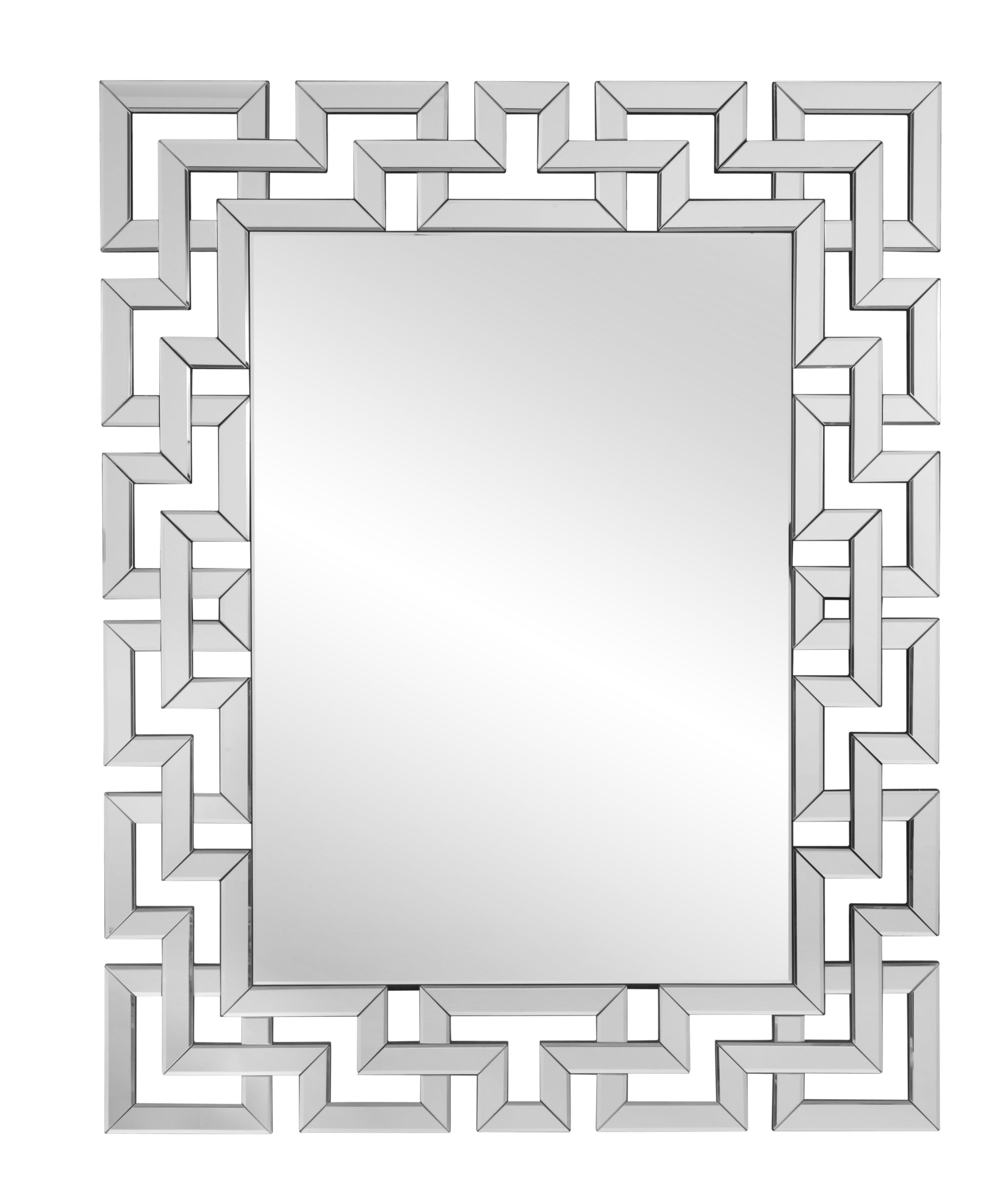 Rectangle Ornate Geometric Wall Mirror Throughout Recent Rectangle Accent Wall Mirrors (View 12 of 20)