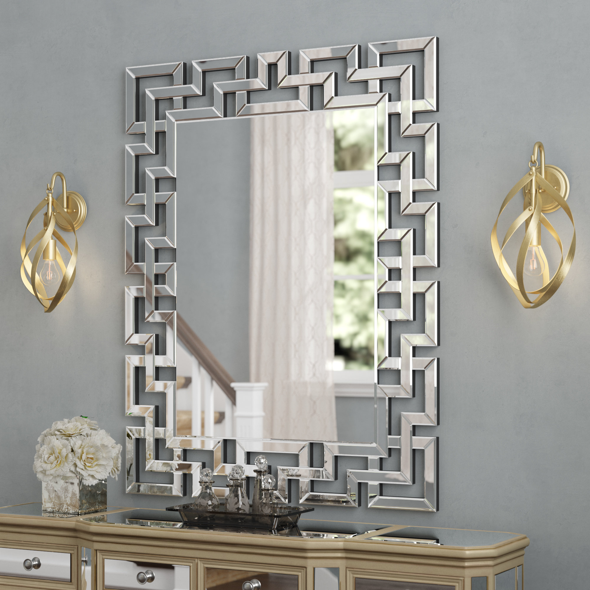 Rectangle Ornate Geometric Wall Mirrors Pertaining To Newest Caja Rectangle Glass Frame Wall Mirror (View 6 of 20)