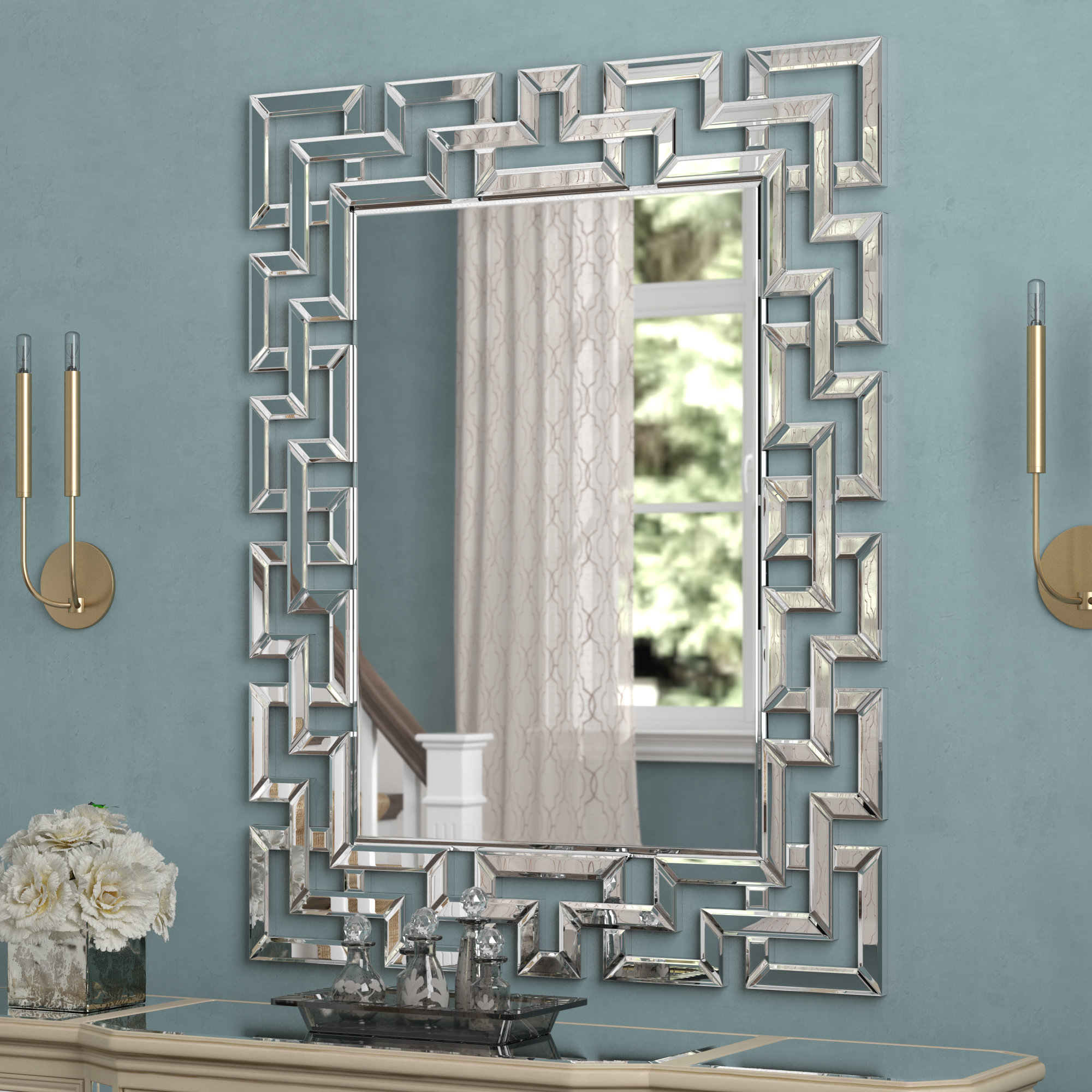 Rectangle Ornate Geometric Wall Mirrors With Regard To Preferred Glam Rectangular Accent Wall Mirror (View 12 of 20)