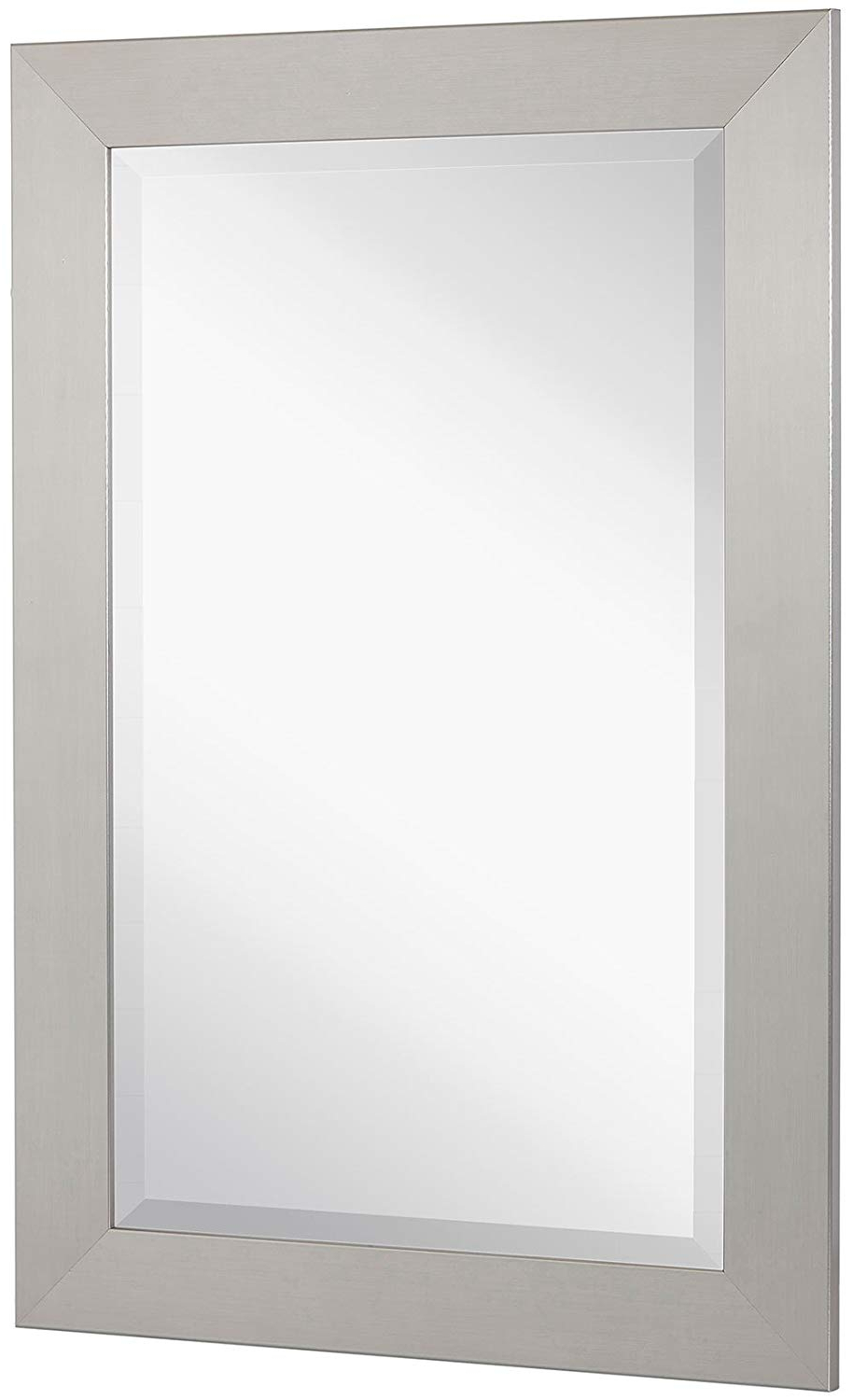 Rectangle Pewter Beveled Wall Mirrors Throughout Preferred Amazon: New Pewter Modern Metallic Look Rectangle Wall Mirror (Gallery 4 of 20)