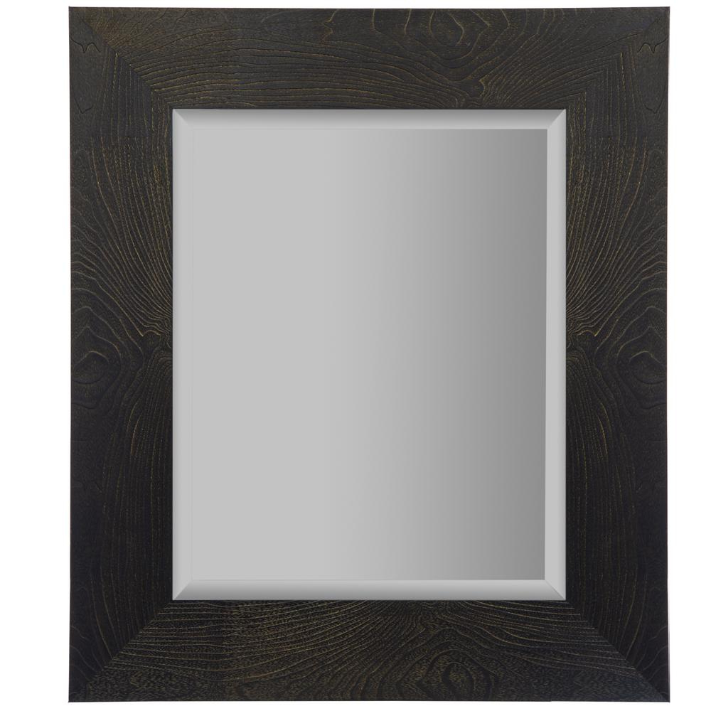Rectangle Plastic Beveled Wall Mirrors For 2020 Woodgrain Framed Beveled Rectangular Black And Bronze Decorative Mirror (View 5 of 20)