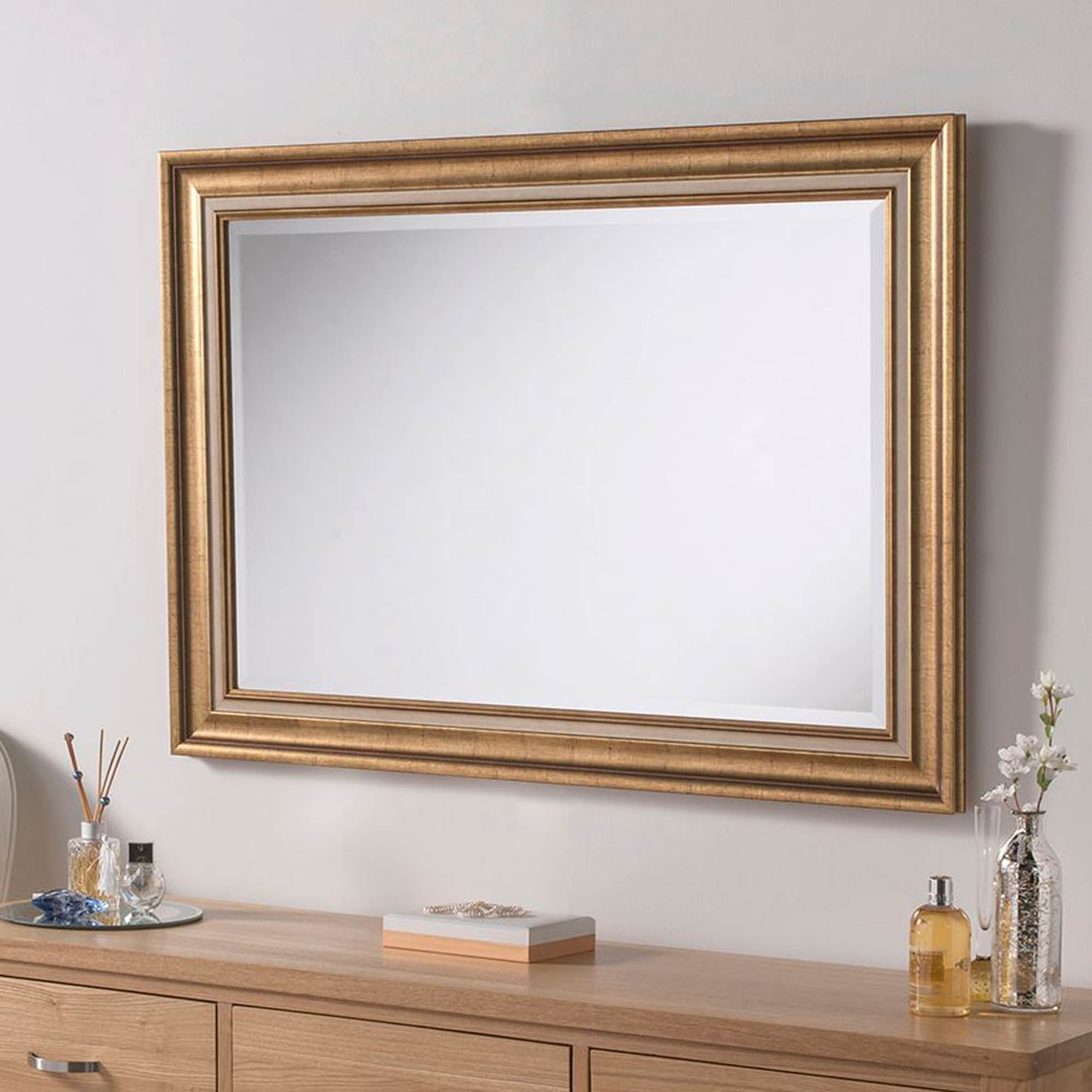 Rectangular Gold Aged Frame Wall Mirror Within Most Current Gold Framed Wall Mirrors (Gallery 1 of 20)