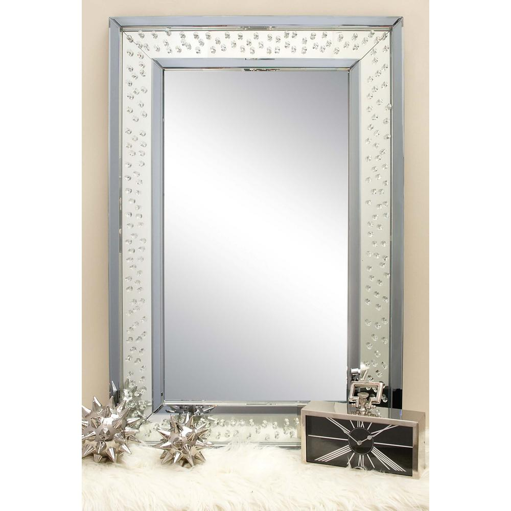 Rectangular Wall Mirrors Inside Most Popular 47 In. X 32 In. Rectangular Jewelled Glass Wall Mirror (Gallery 18 of 20)
