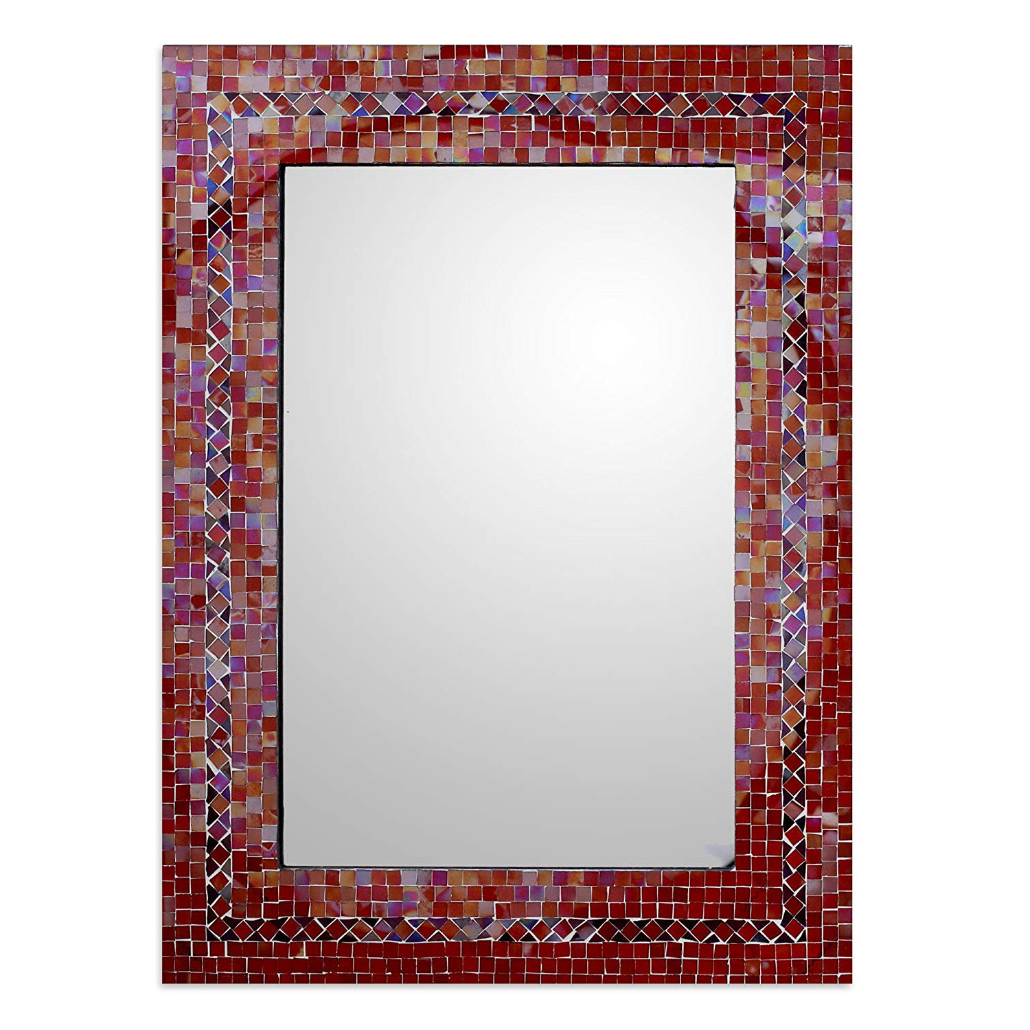 Red Framed Wall Mirrors For Well Known Novica Orange And Red Glass Mosaic Wood Framed Rectangular Decorative Wall Mirror 'india Sunset' (large) (View 7 of 20)