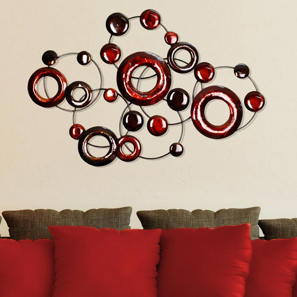 Red Metallic Circles Decorative Mirror Wall Decor In Well Known Red Wall Mirrors (View 7 of 20)