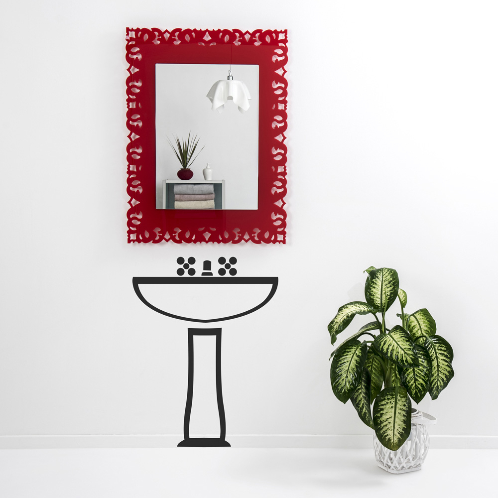 Red Wall Mirrors Inside Most Up To Date Red Decorative Wall Mirror With Macramé Design Tonya, Made In Italy (View 5 of 20)